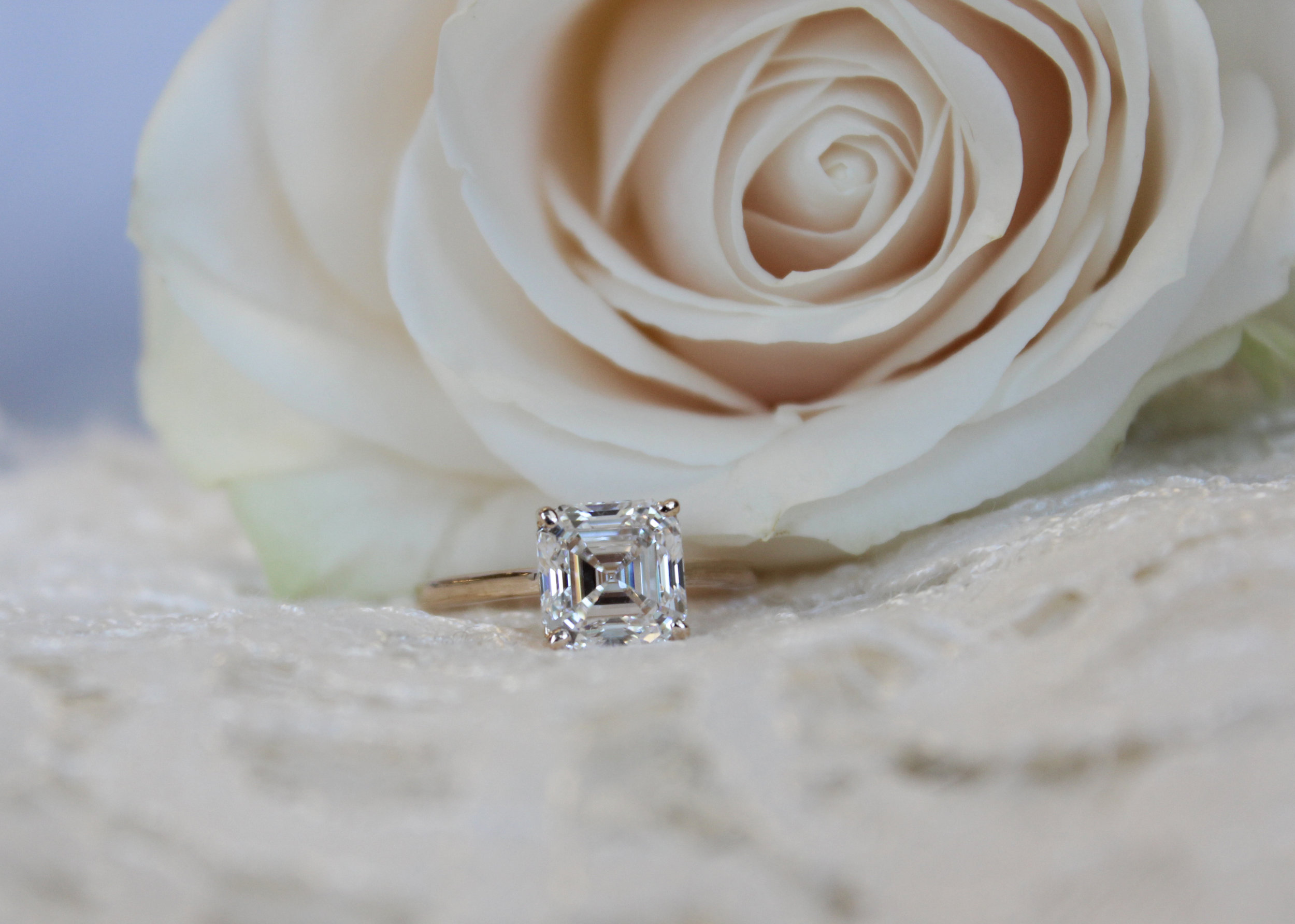 Asscher Cut Solitaire Lab Created Diamond Engagement Ring in Rose Gold Artistic
