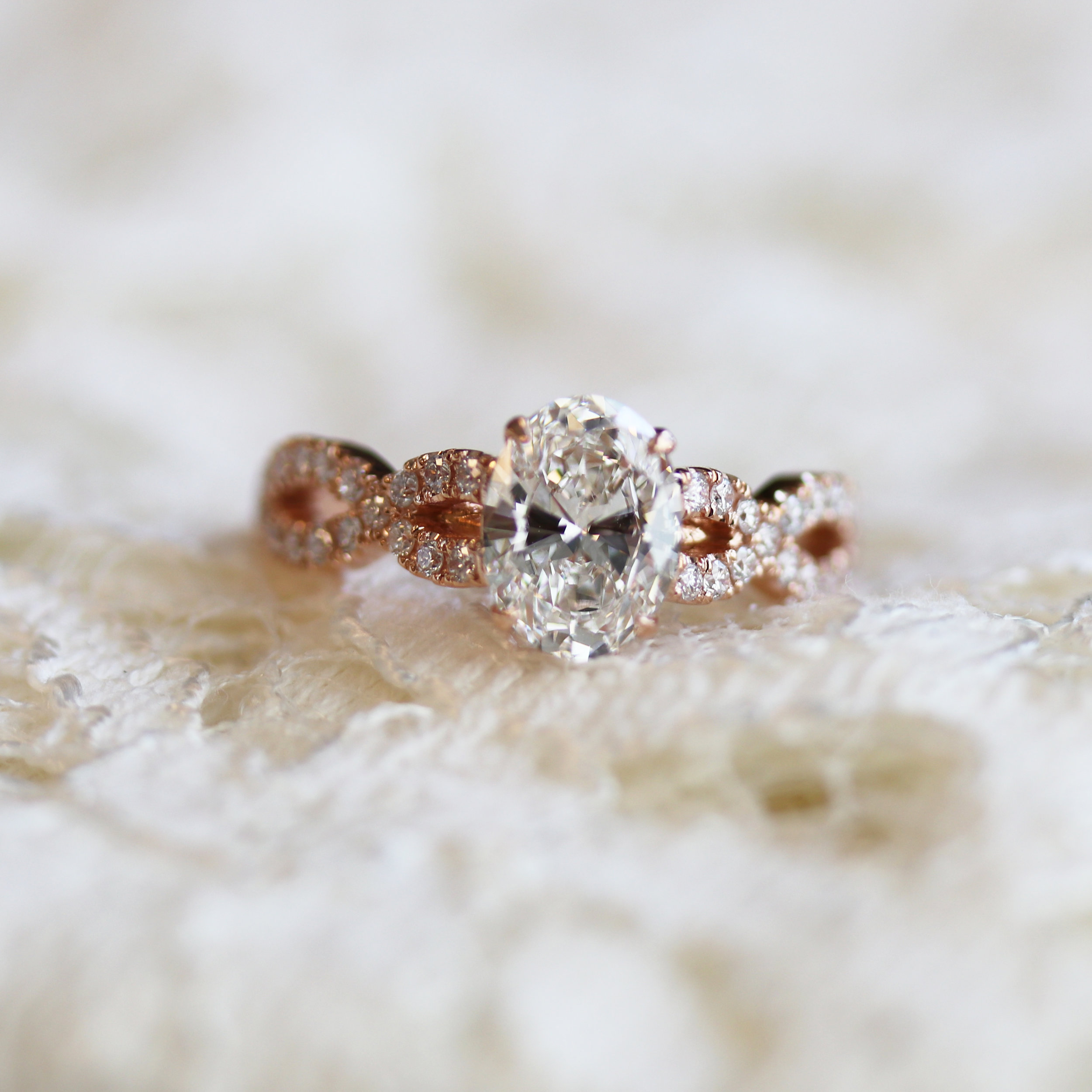 Twist Band Oval Lab Diamond Engagement Ring in Rose Gold