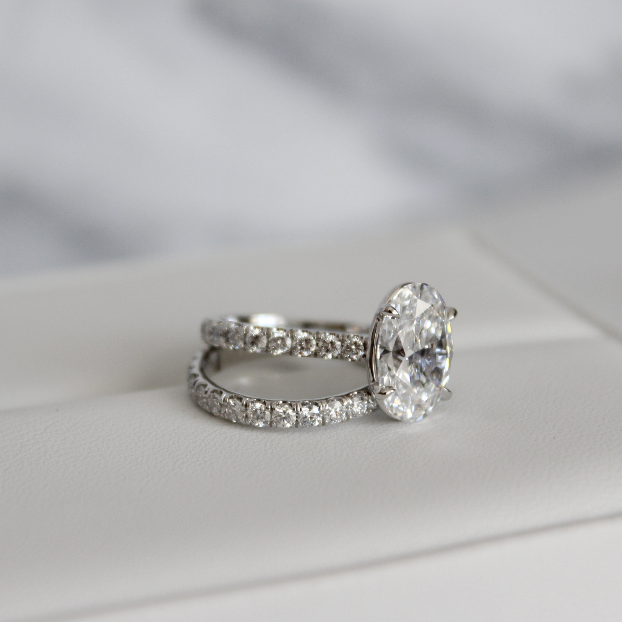 Cathedral Lab Grown Oval Diamond Solitaire Engagement Ring Platinum AD-190