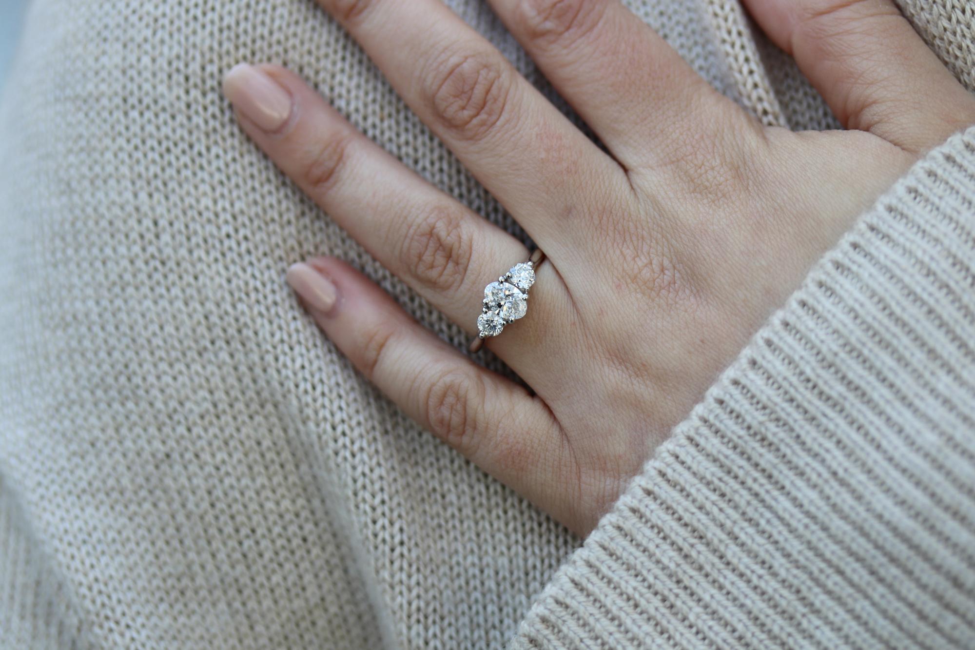 three stone engagement ring platinum lab grown diamonds on hand.jpg