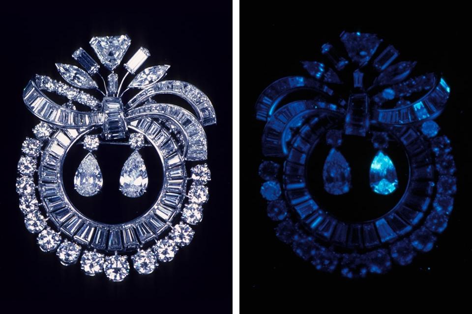 Diamond brooch in regular light (left) and UV light (right).  Image used with permission from GIA.edu