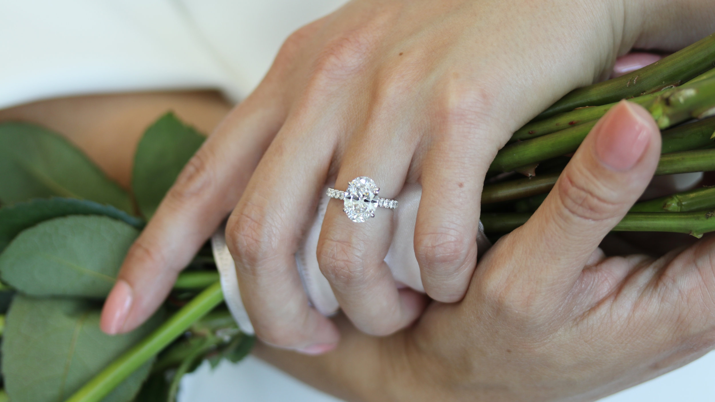 Bespoke Oval Pave Lab Created Diamond Engagement Ring