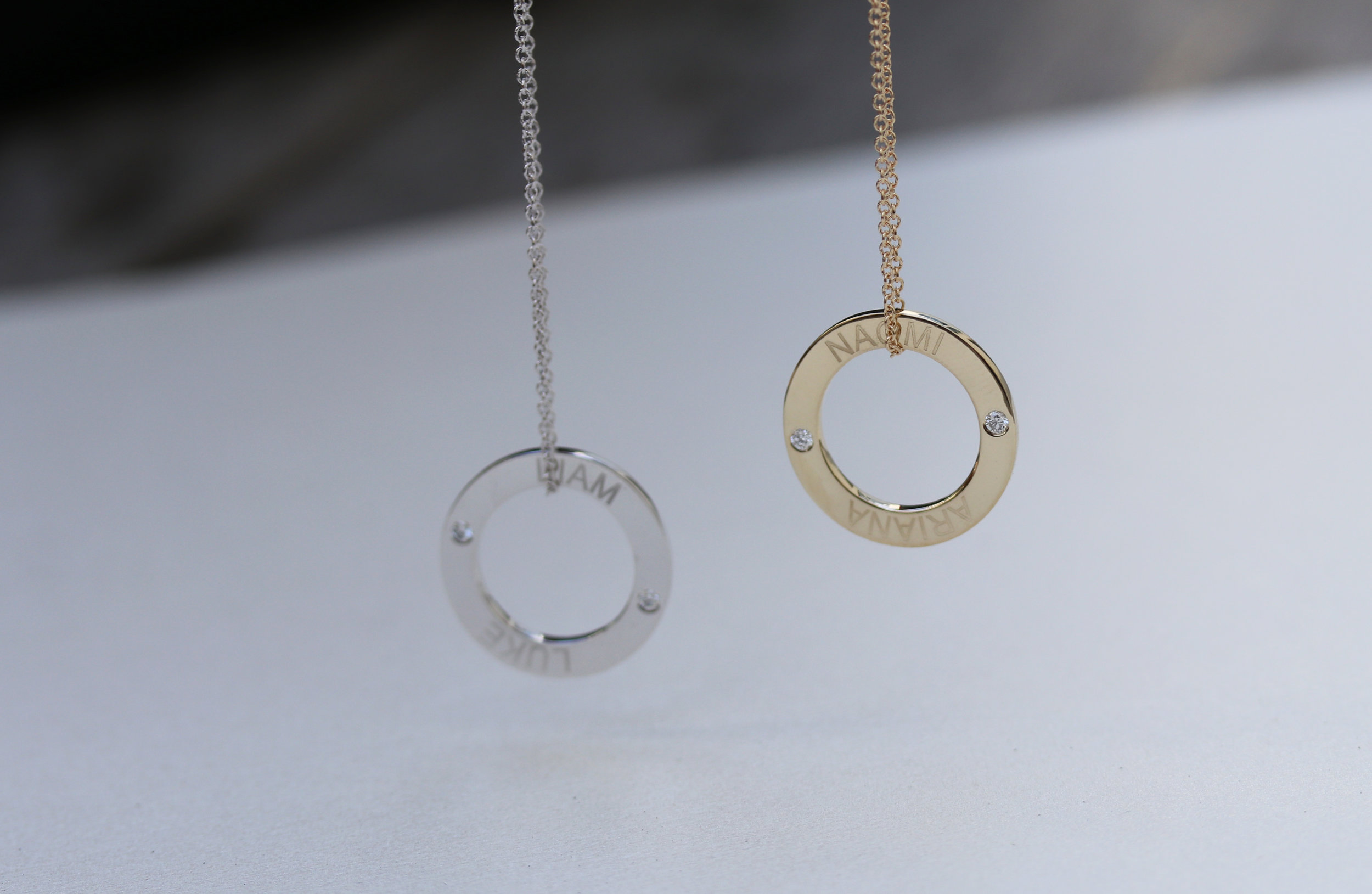white gold and yellow gold lab diamond circle pendant necklace Mother's Day gift engraved with children's names