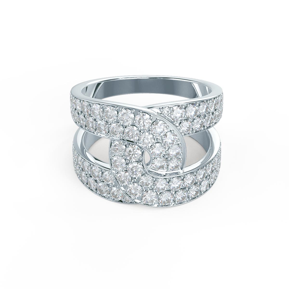 Lab grown diamond fashion ring with interlocking bands