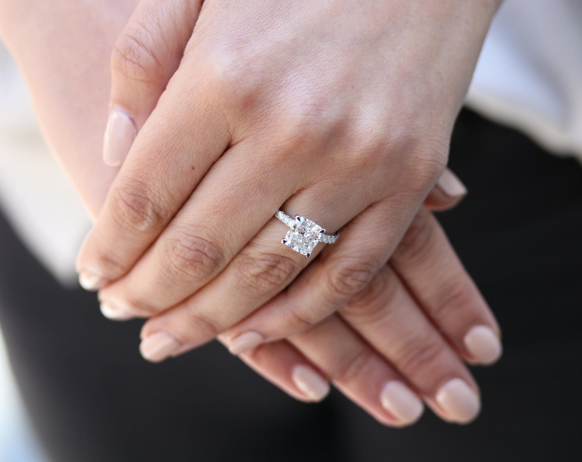 Lab grown diamond band cushion cut engagement ring