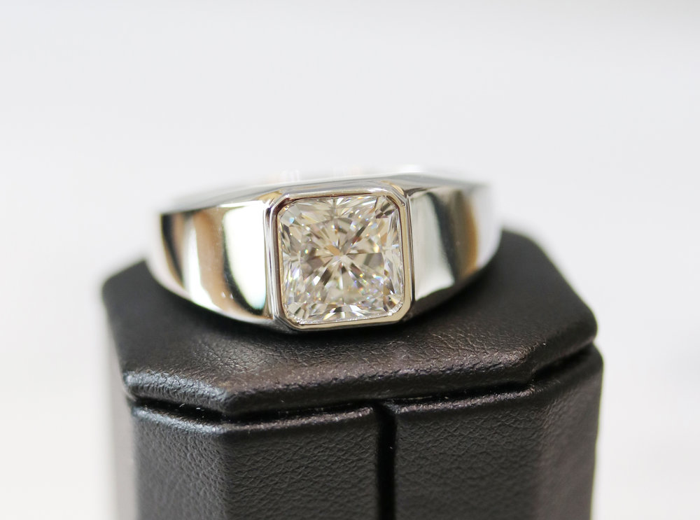 Custom Mens Lab Created Diamond Wedding Band in Platinum