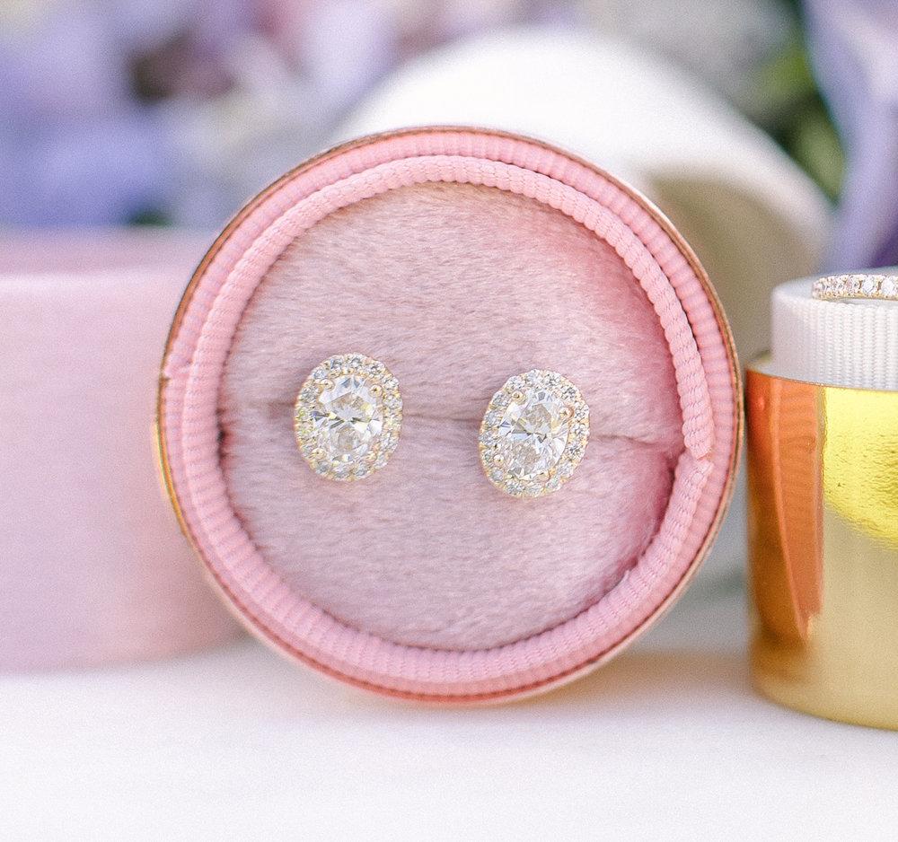 Oval Halo Lab Created Diamond Stud Earrings in Yellow Gold