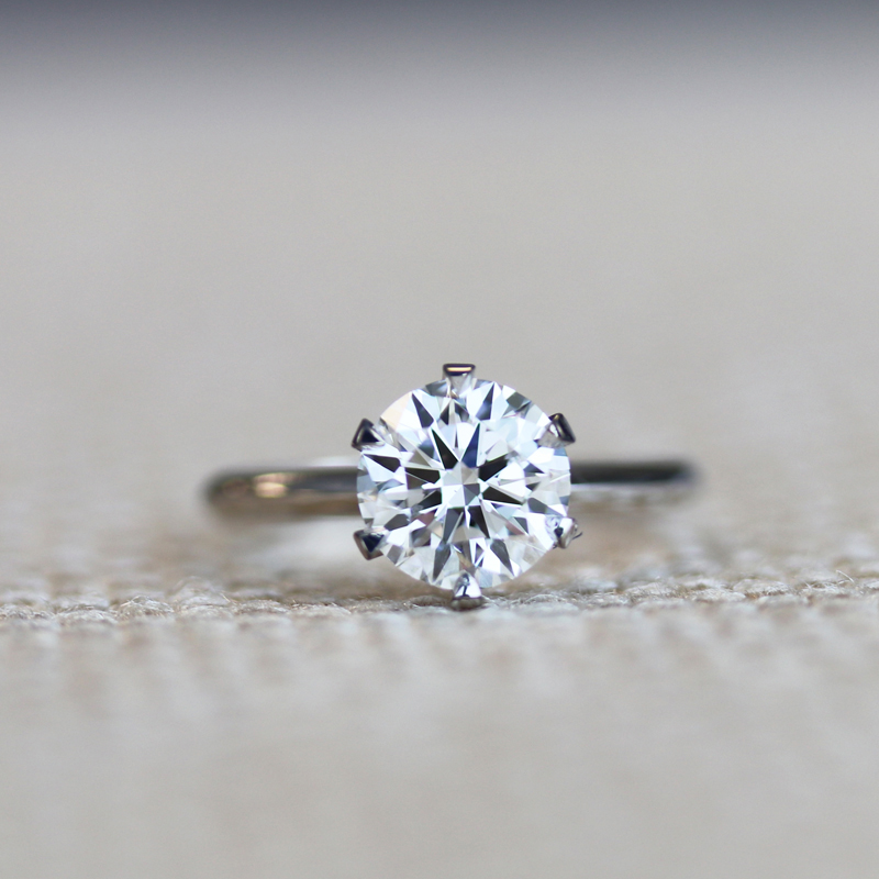 Hearts and Arrows in Ideal Cut Six Prong Lab Created Diamond Engagement Ring