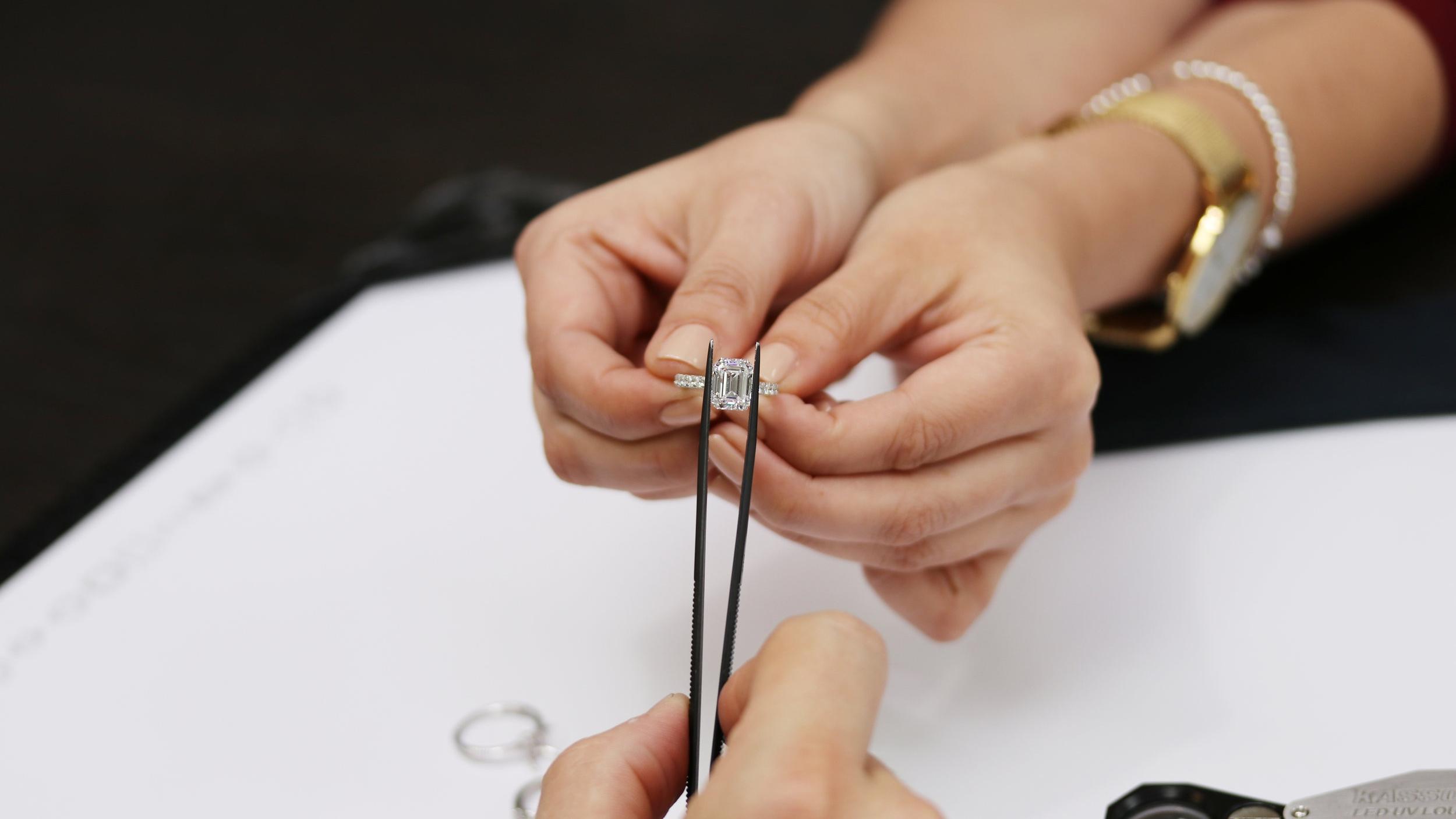 Lab Grown Emerald Cut Diamond Engagement Ring at the Ada Diamonds Showroom in San Francisco, CA