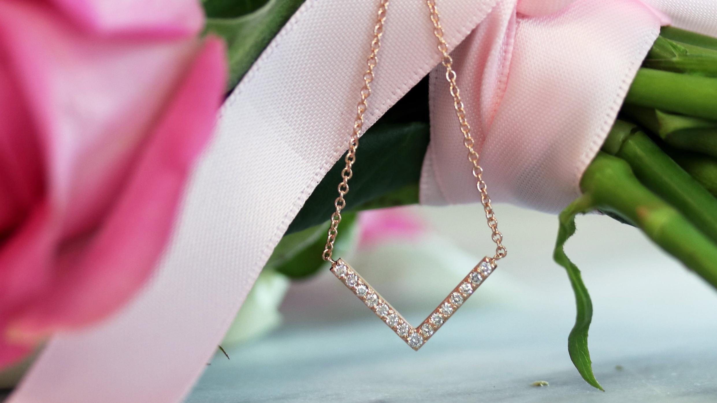 V Lab Diamond Pendant Necklace in 14k White Gold 0.24ctw AD-120