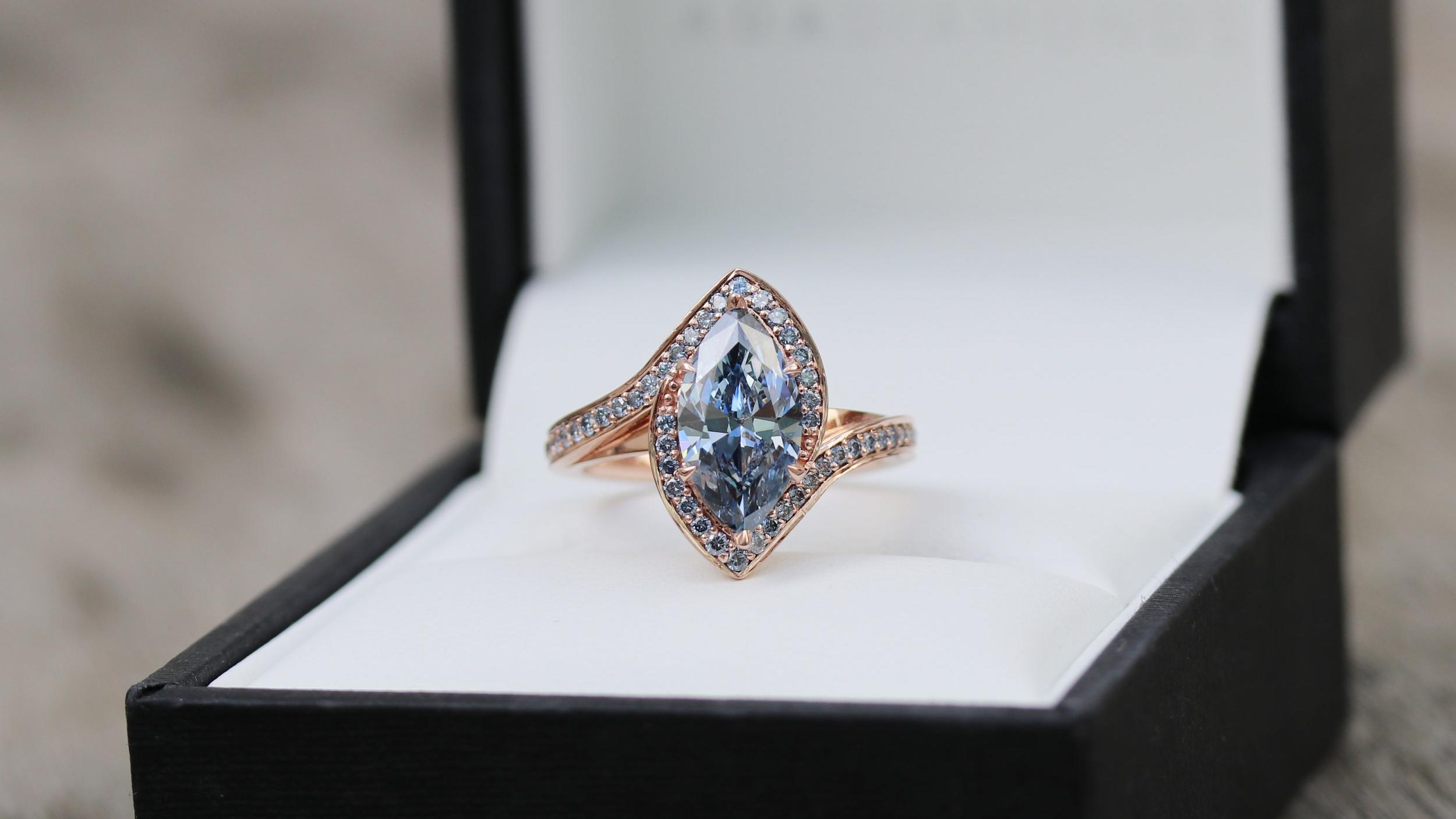 Custom lab grown fancy blue marquise diamond engagement ring in rose gold Ada Diamonds