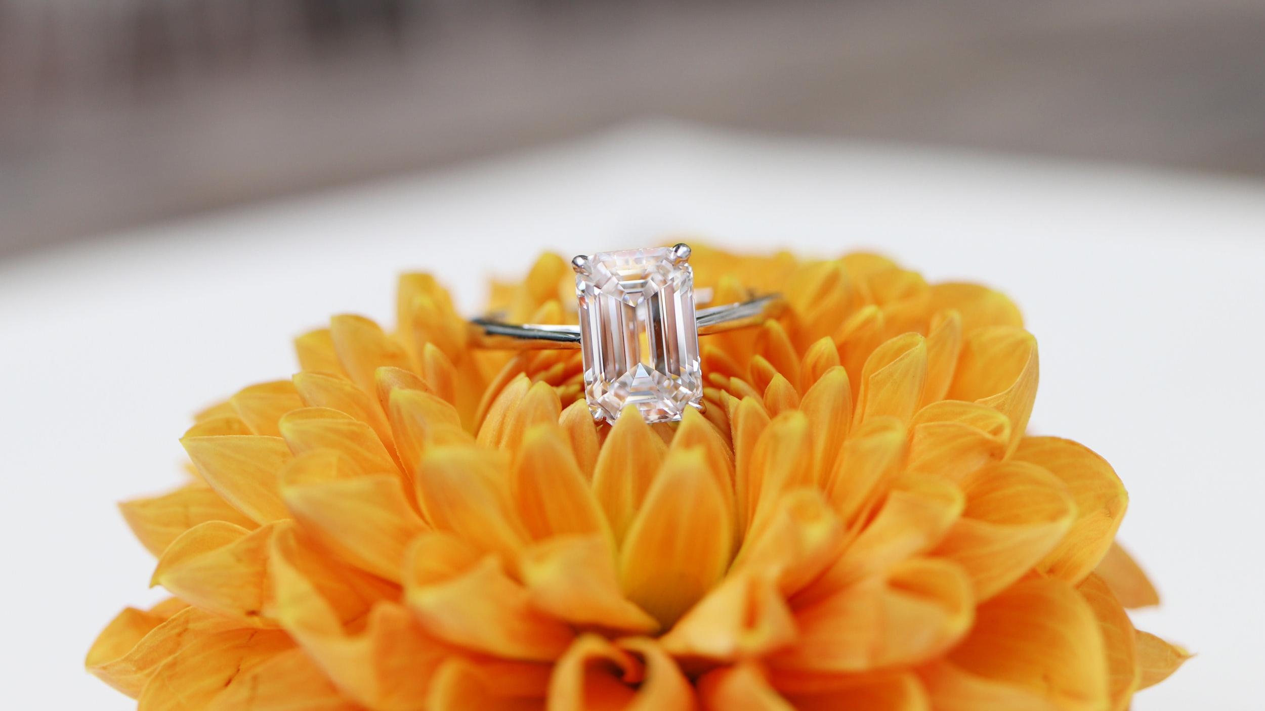 custom white gold emerald cut solitaire lab diamond engagement ring