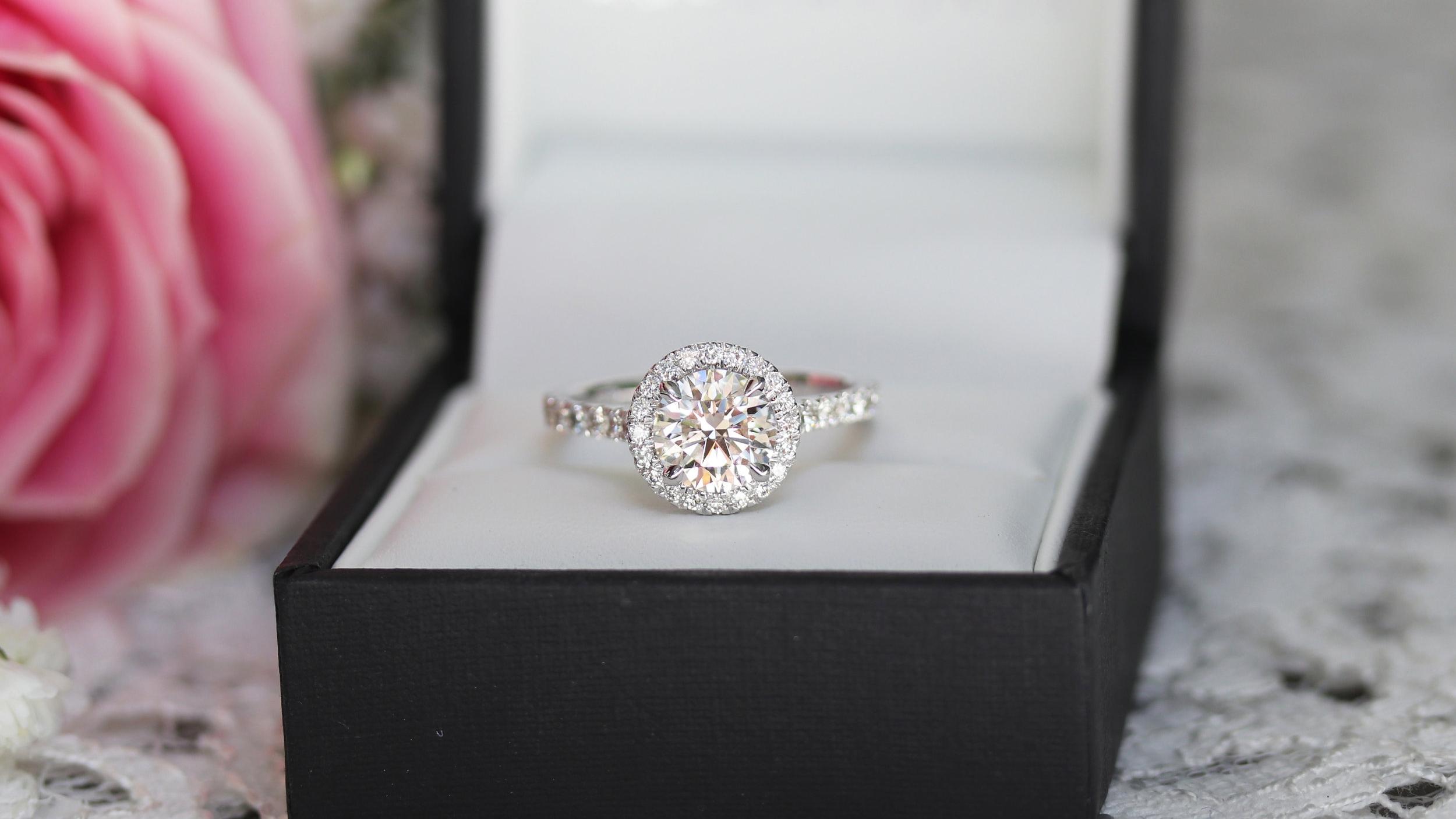 custom halo lab diamond engagement ring white gold ada diamonds
