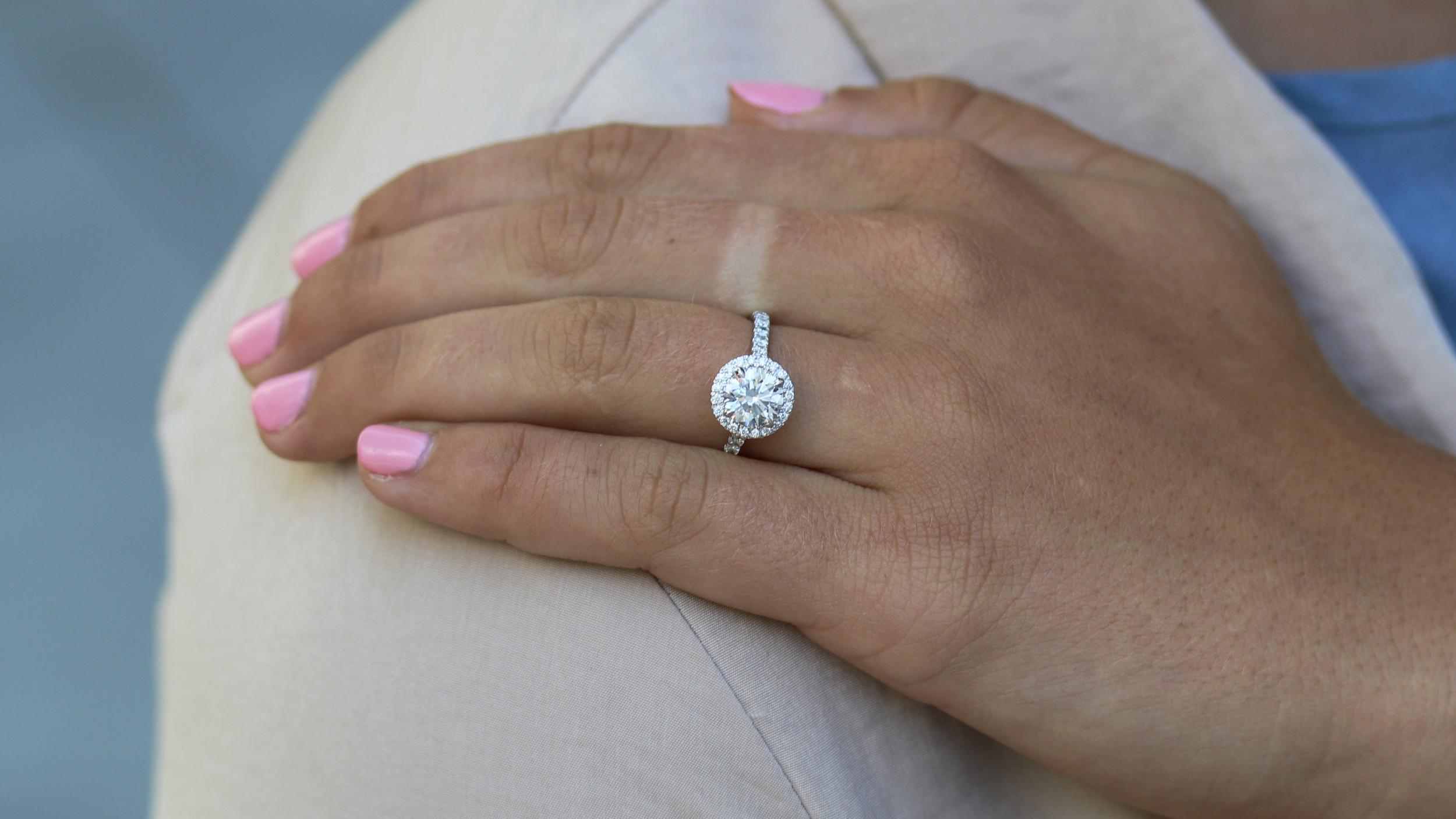 white gold lab diamond halo engagement ring
