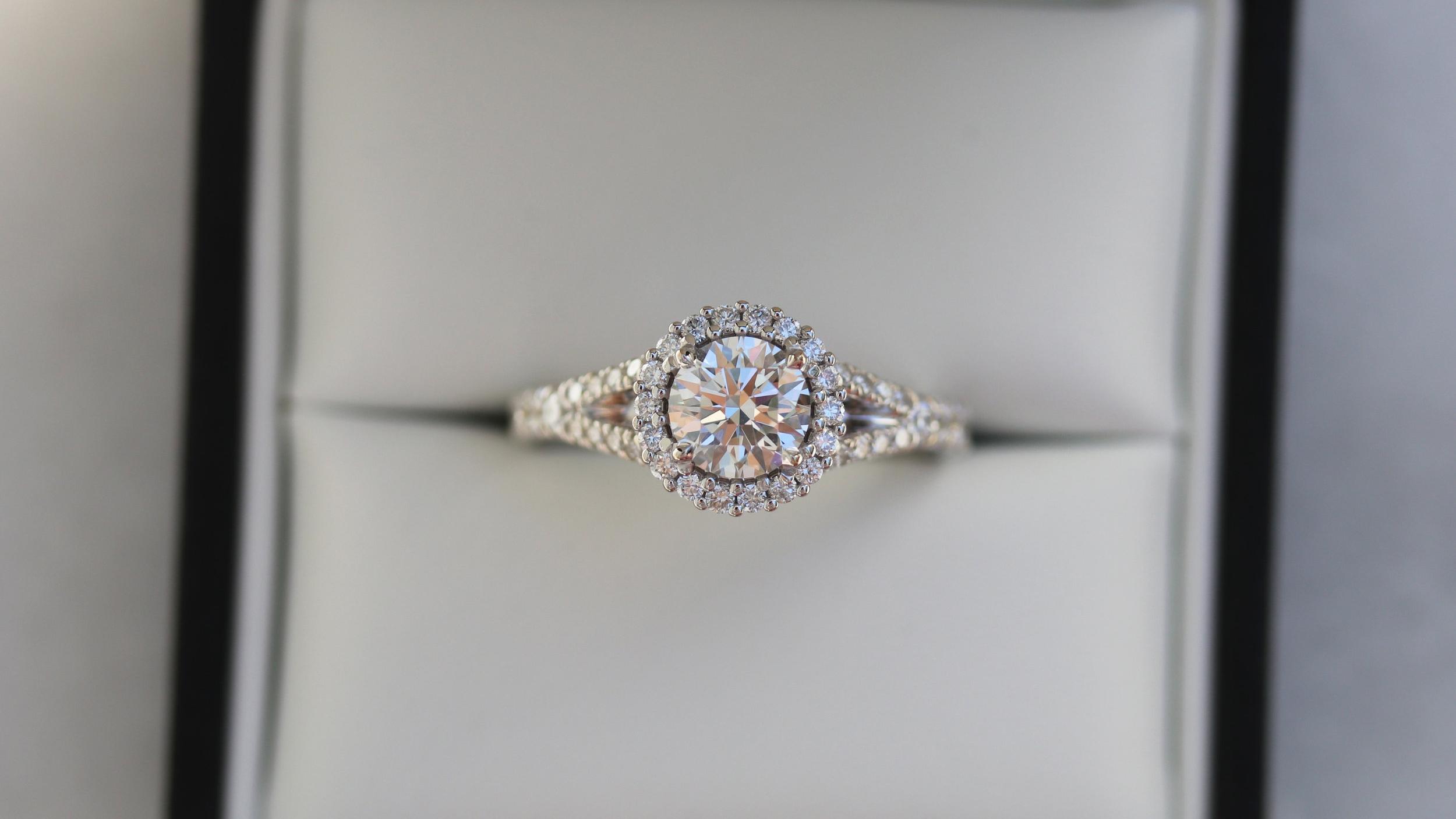 white gold single halo split shank lab diamond engagement ring