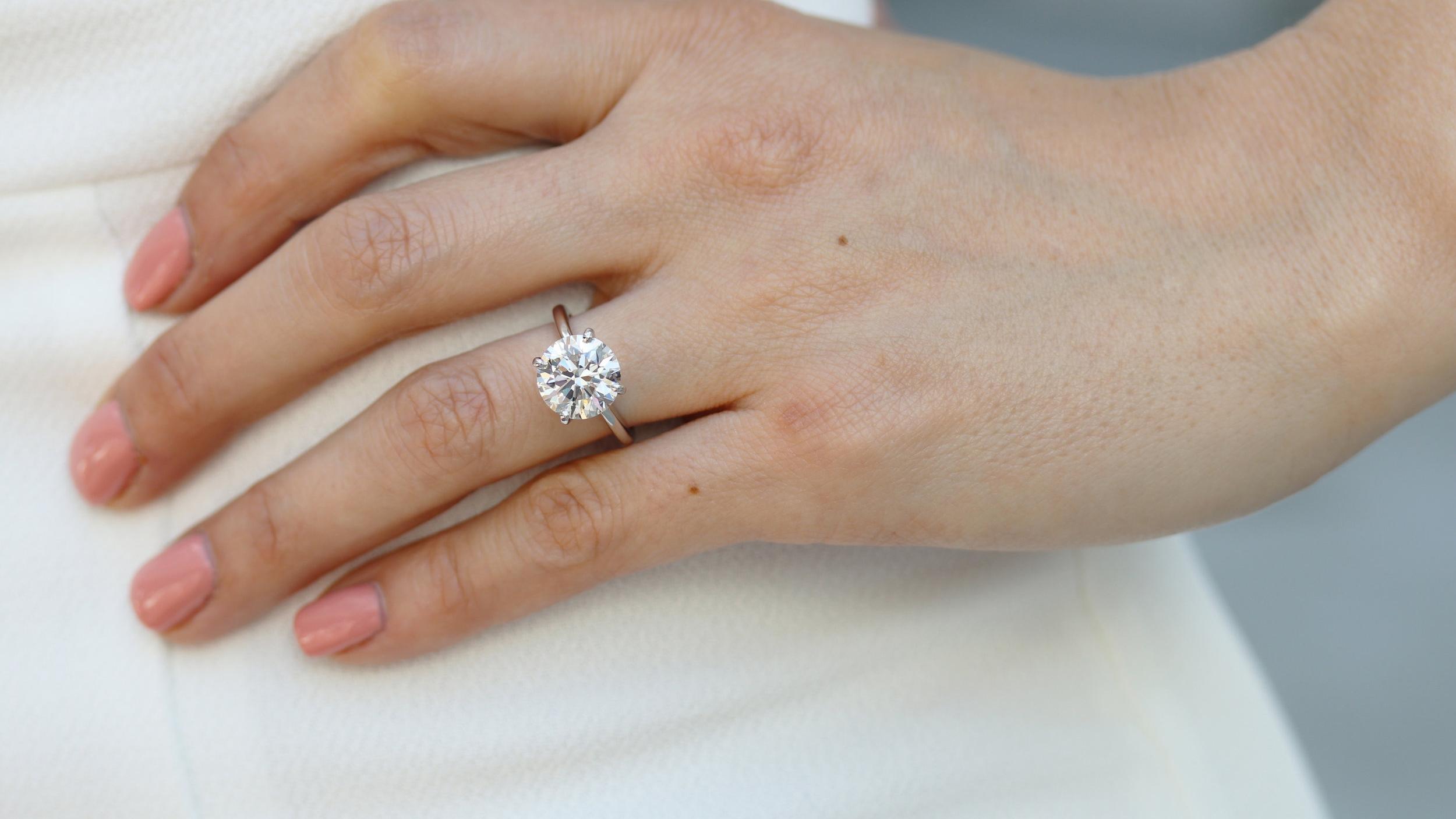 white gold four carat lab diamond solitaire engagement ring ada diamonds ad-144