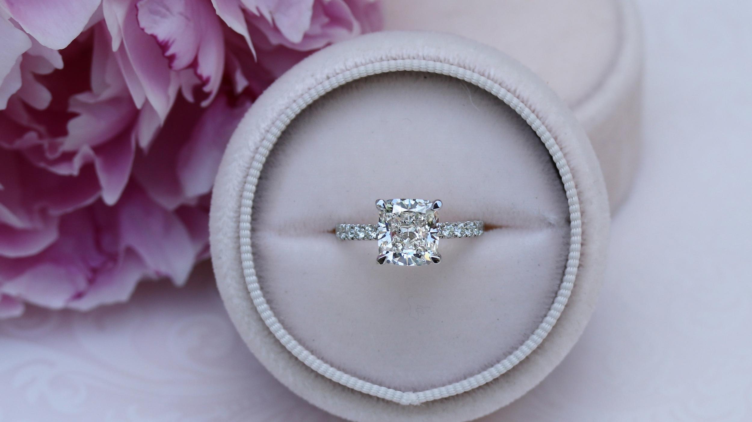 white gold cushion cut diamond band lab diamond engagement ring ada diamonds