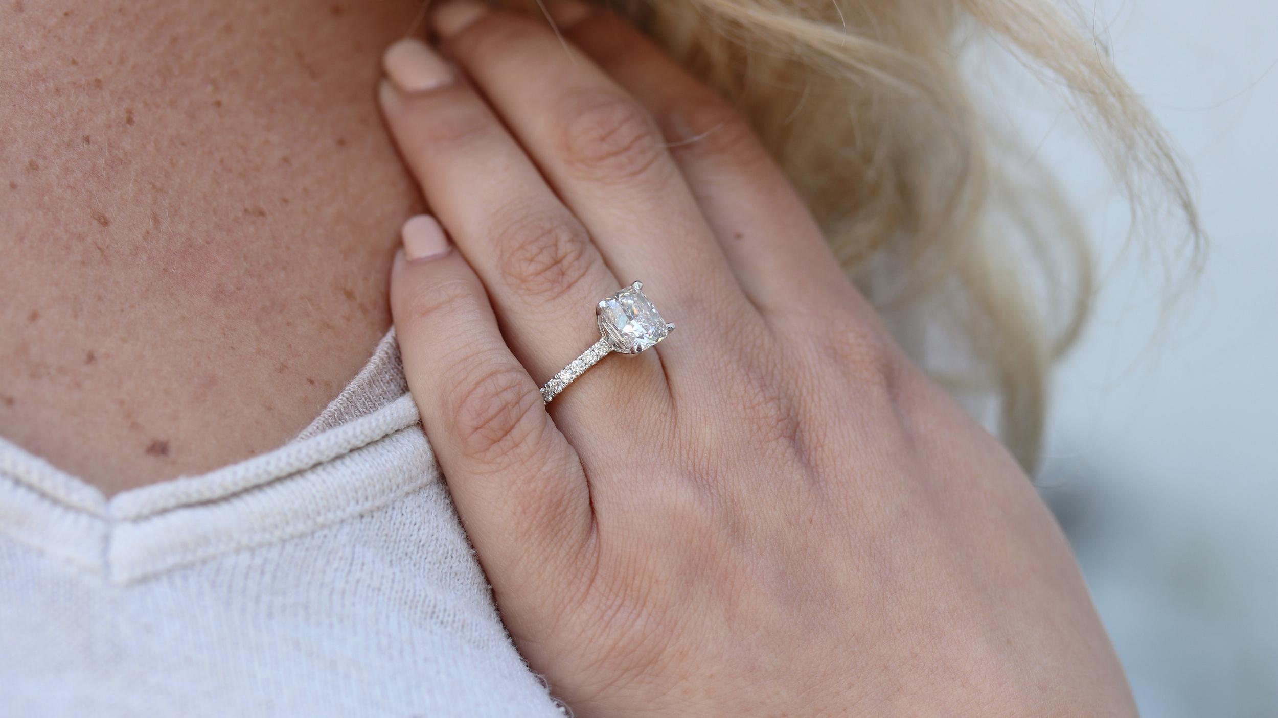 cushion cut lab diamond diamond band engagement ring in white gold ada diamonds