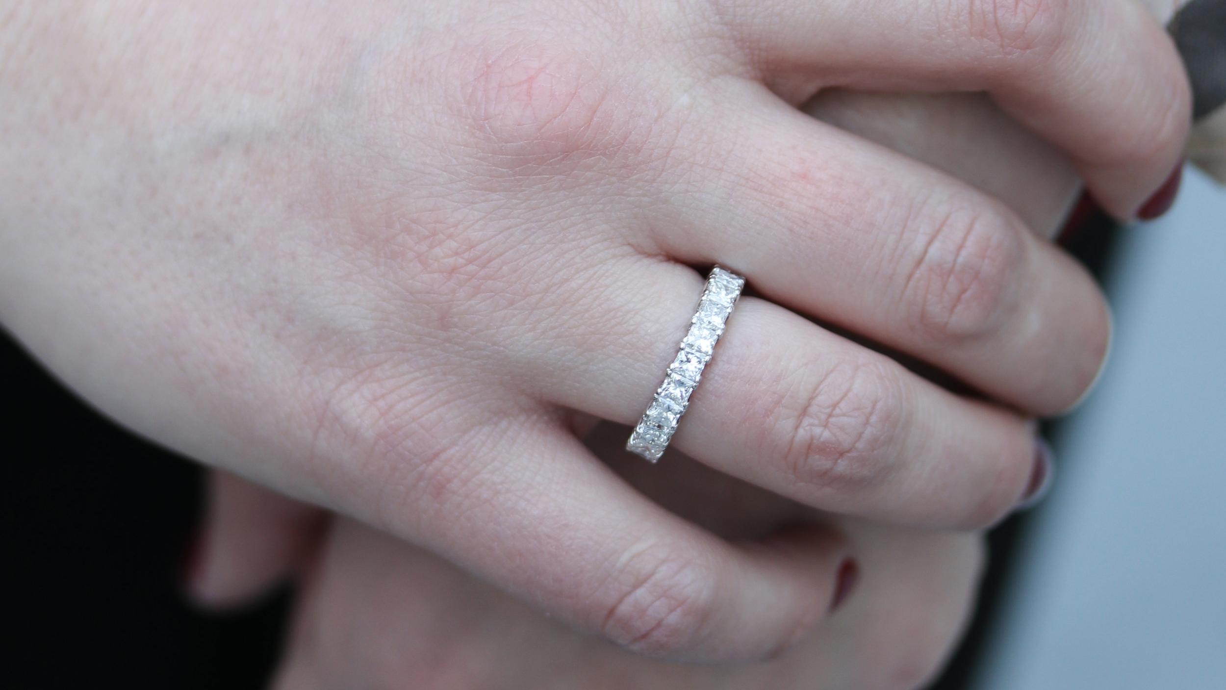 8 carat lab grown emerald cut diamond eternity band wedding ring Ada Diamonds San Francisco