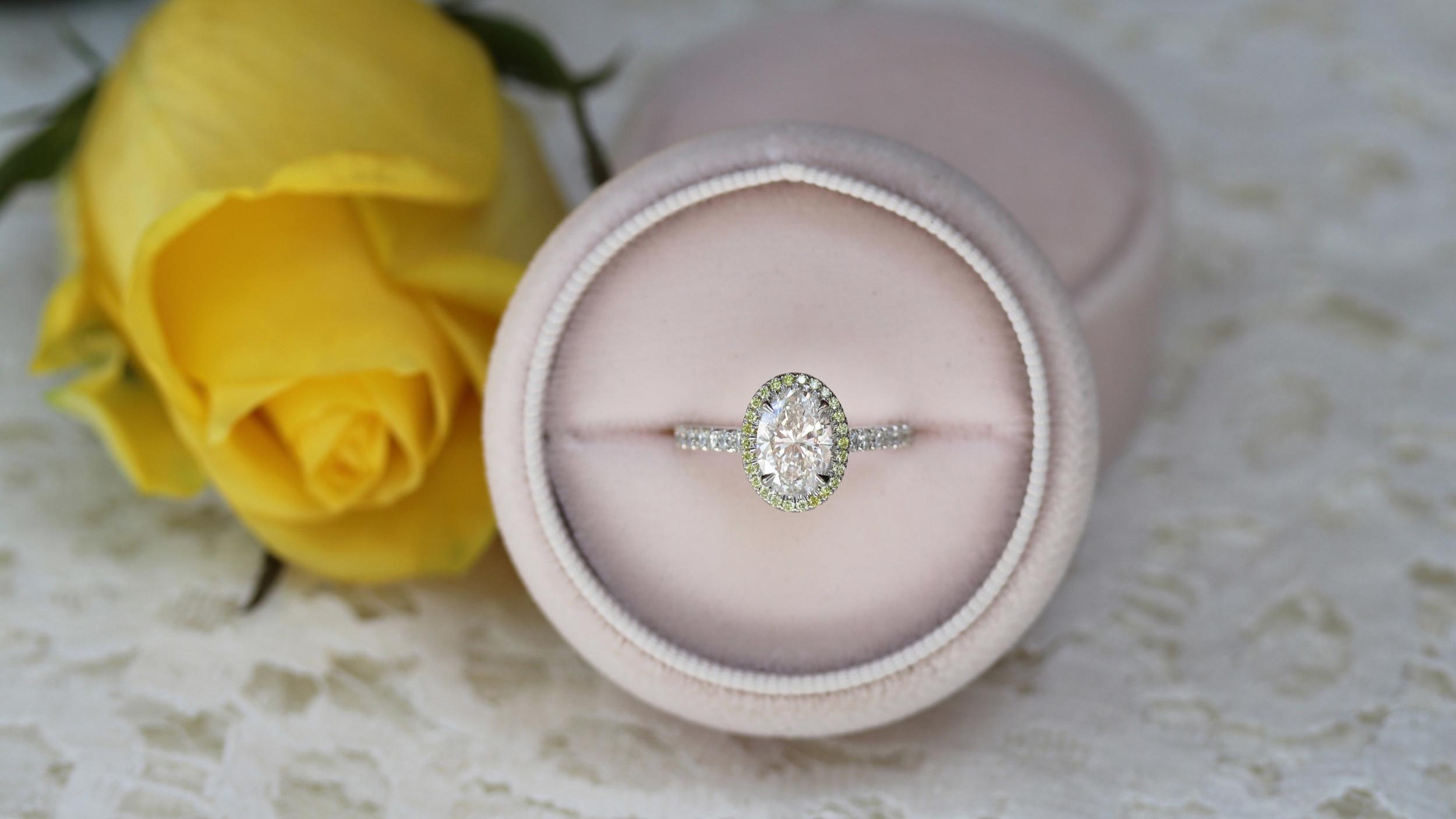custom lab diamond halo engagement ring with fancy yellow lab diamond halo and diamond band