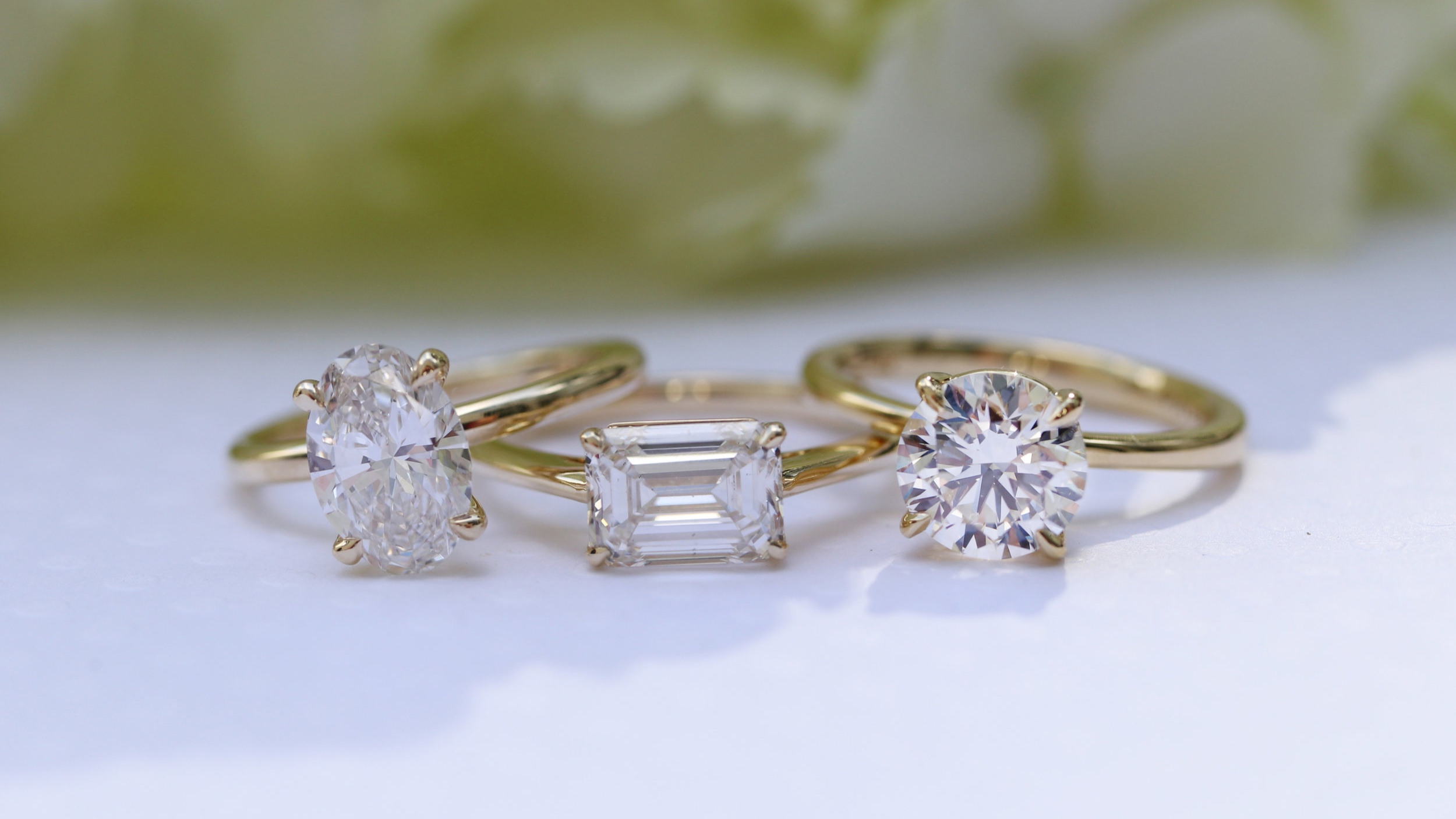 yellow gold lab grown diamond solitaire engagement rings oval cut emerald cut round brilliant