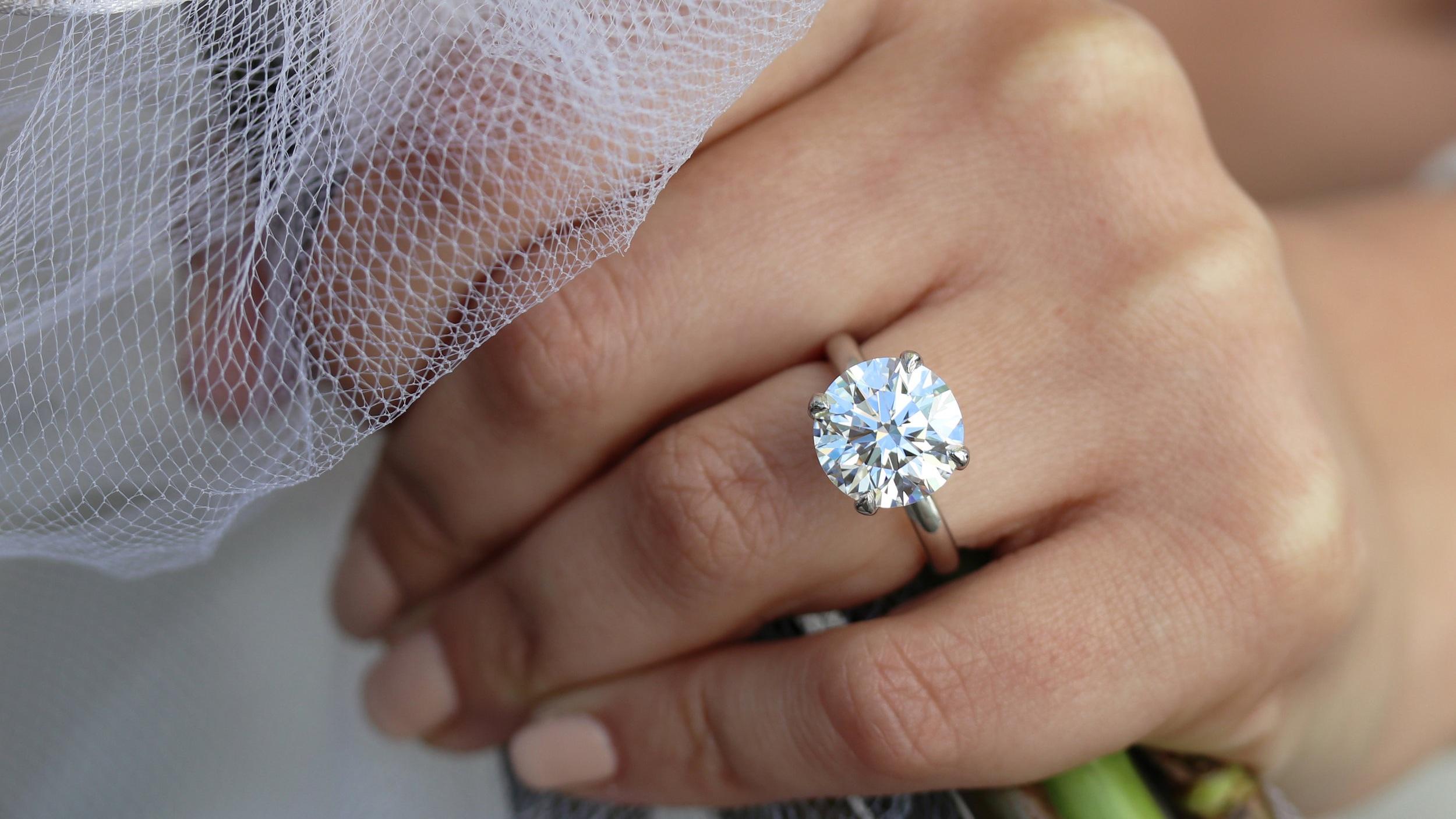 5 carat round lab diamond solitaire engagement ring ada diamonds