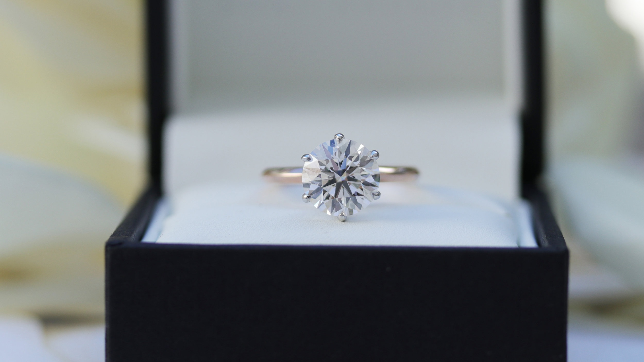 two tone six prong lab diamond solitaire engagement ring ada diamonds