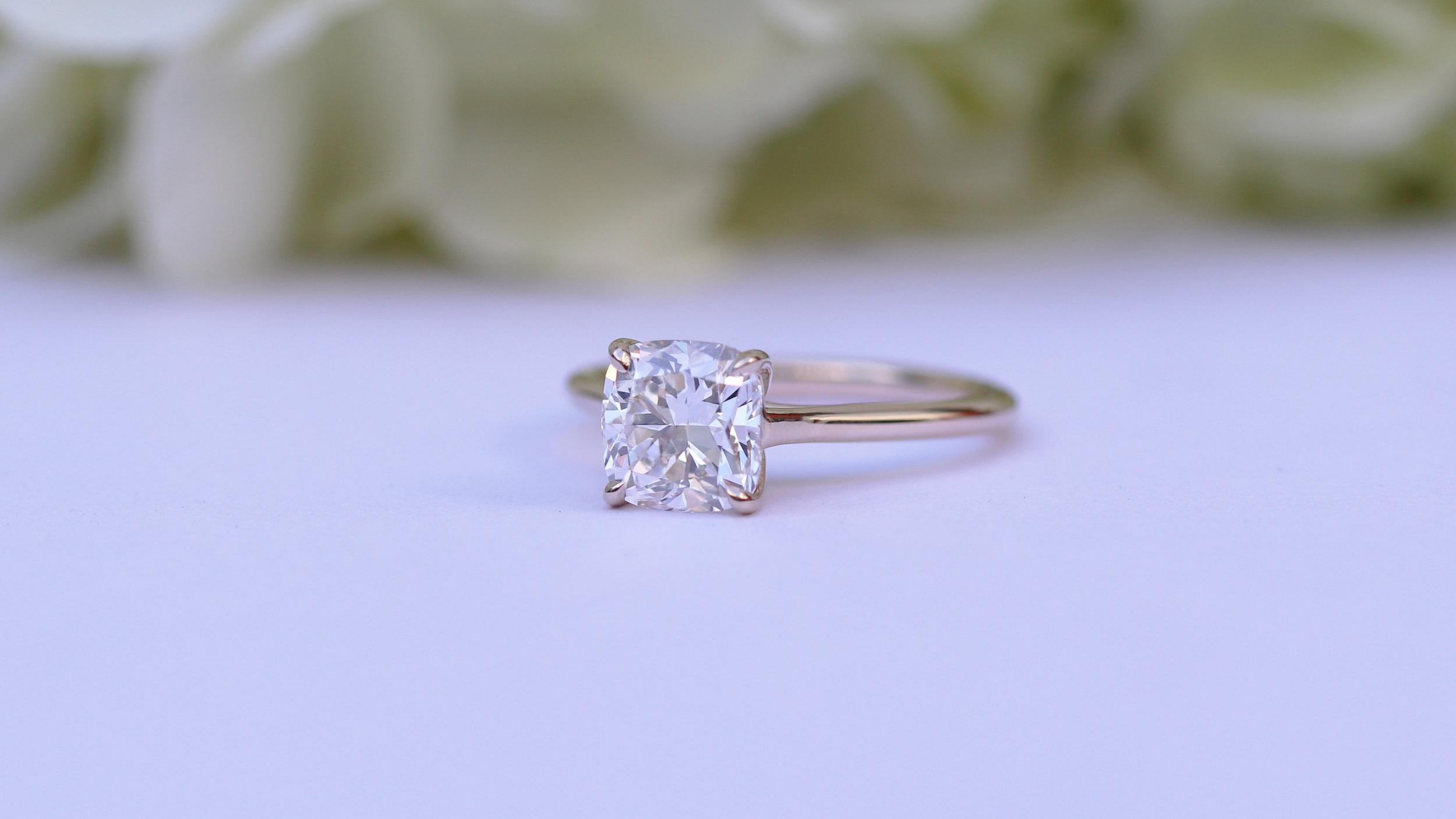 Cushion cut two carat lab diamond solitaire engagement ring ada diamonds