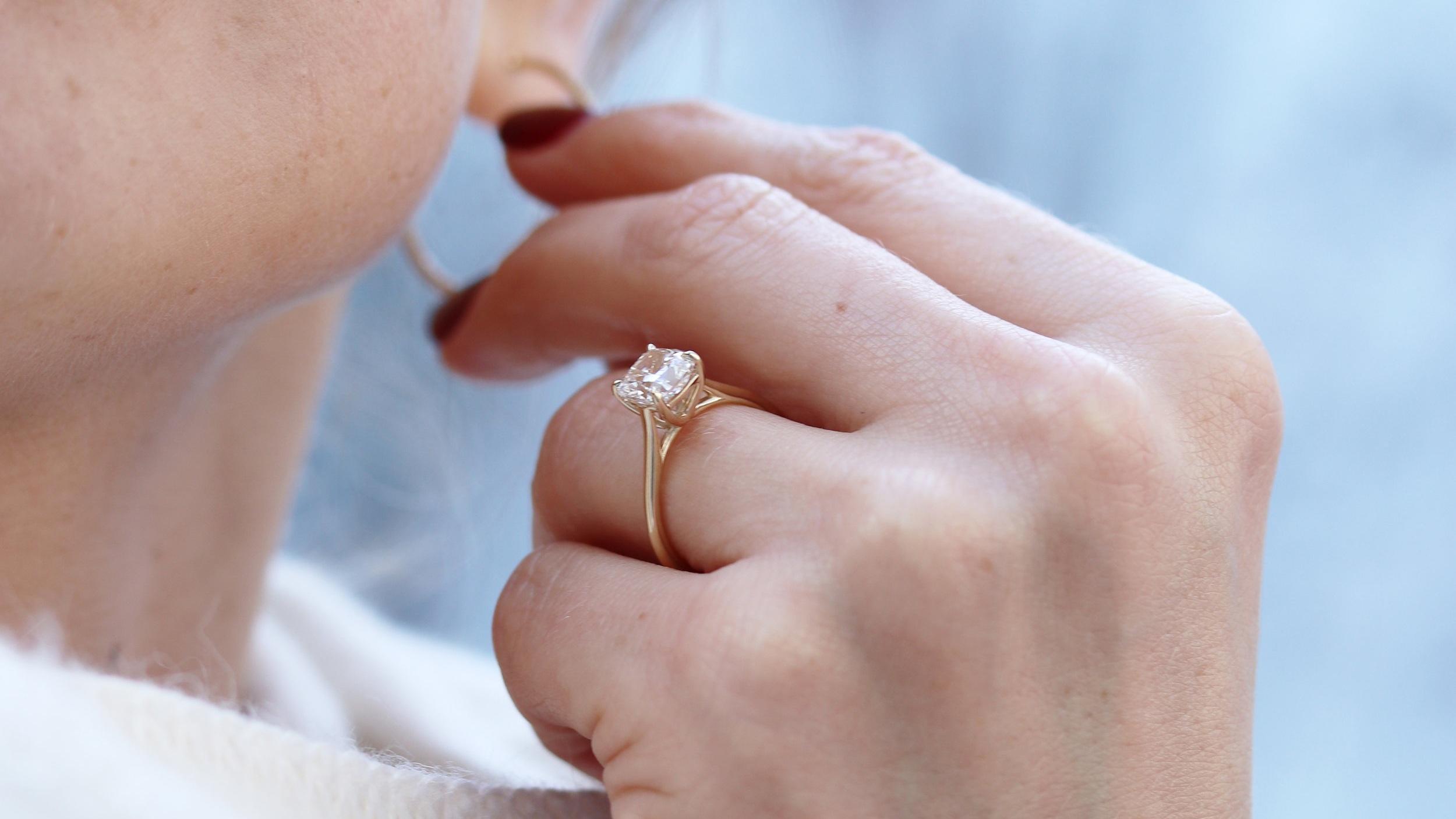 cushion cut petite trellis lab diamond solitaire engagement ring