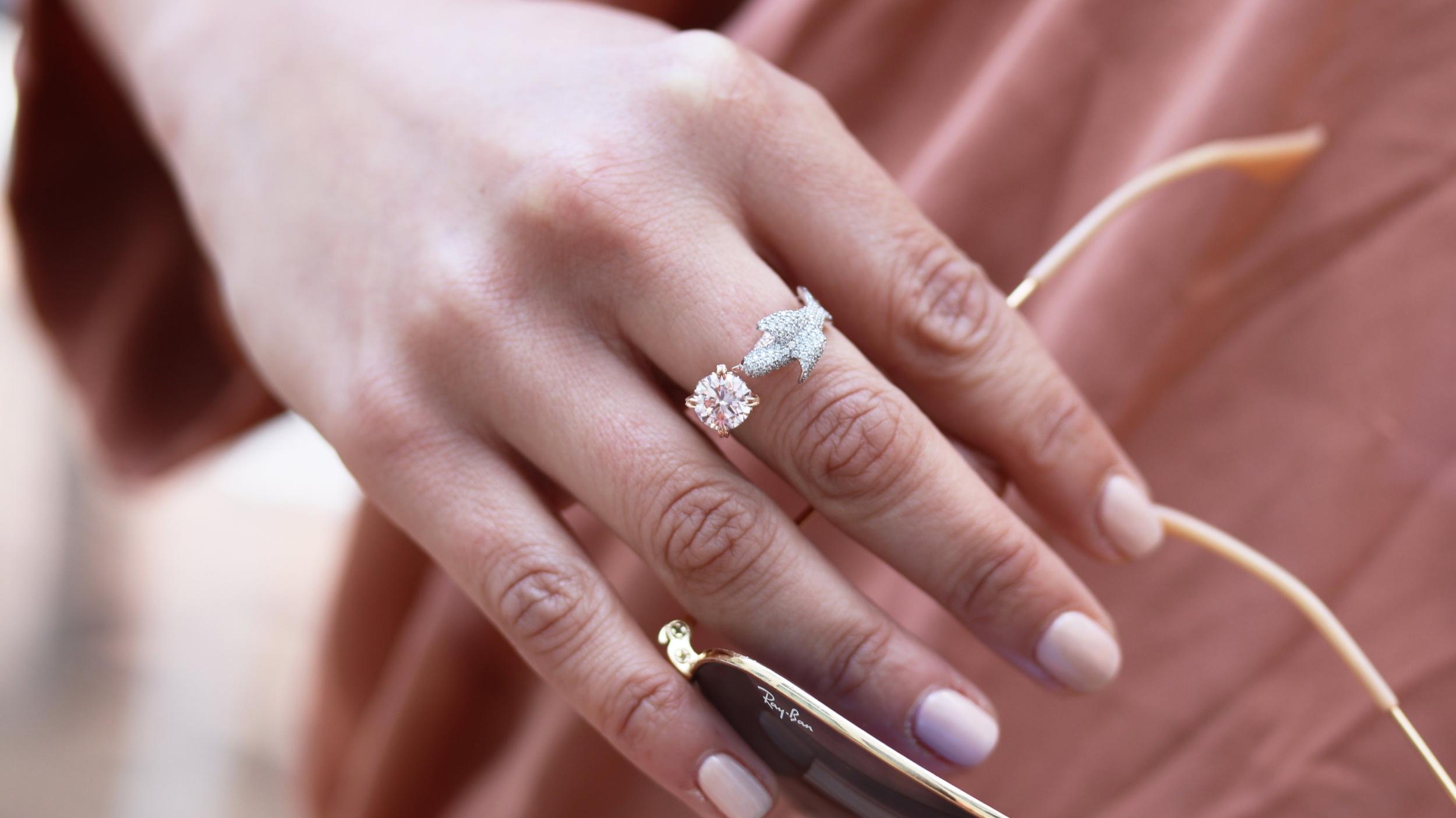 lab grown oval diamond engagement ring with diamonds down the shank Ada Diamonds