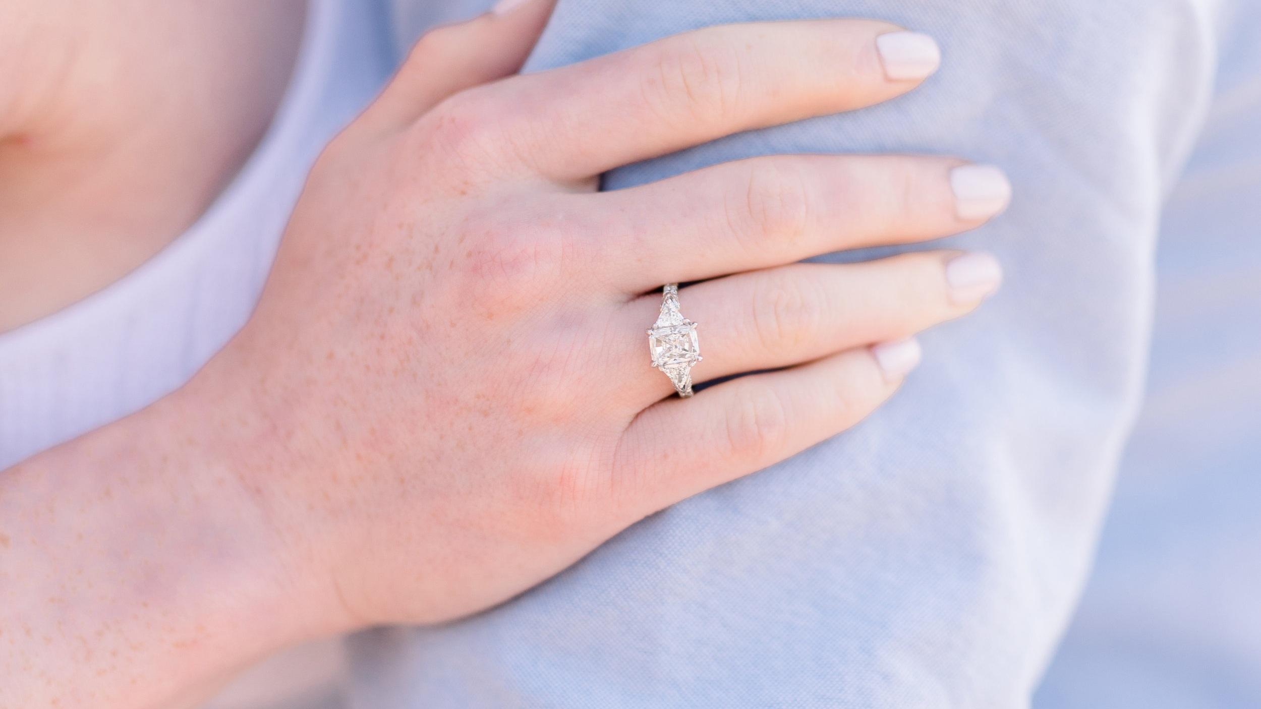custom three stone lab diamond radiant and trillion engagement ring