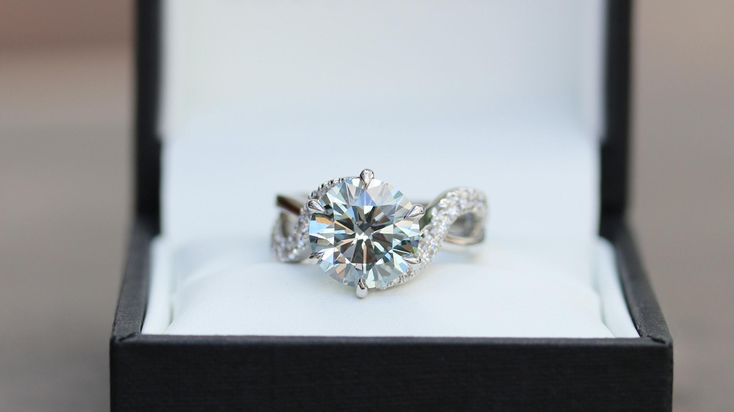 blue lab diamond pave band engagement ring ada diamonds