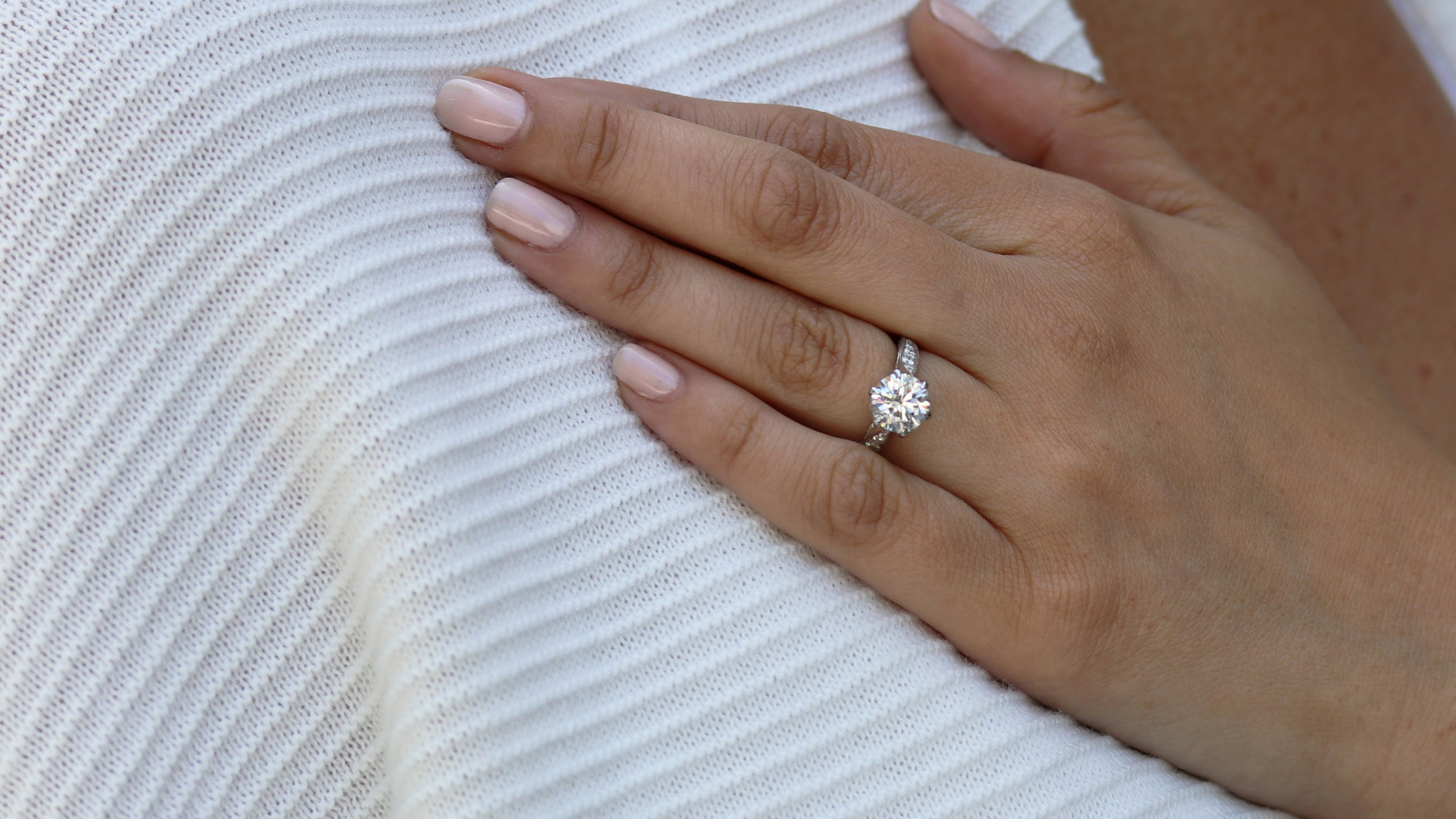 three stone emerald cut lab diamond engagement ring