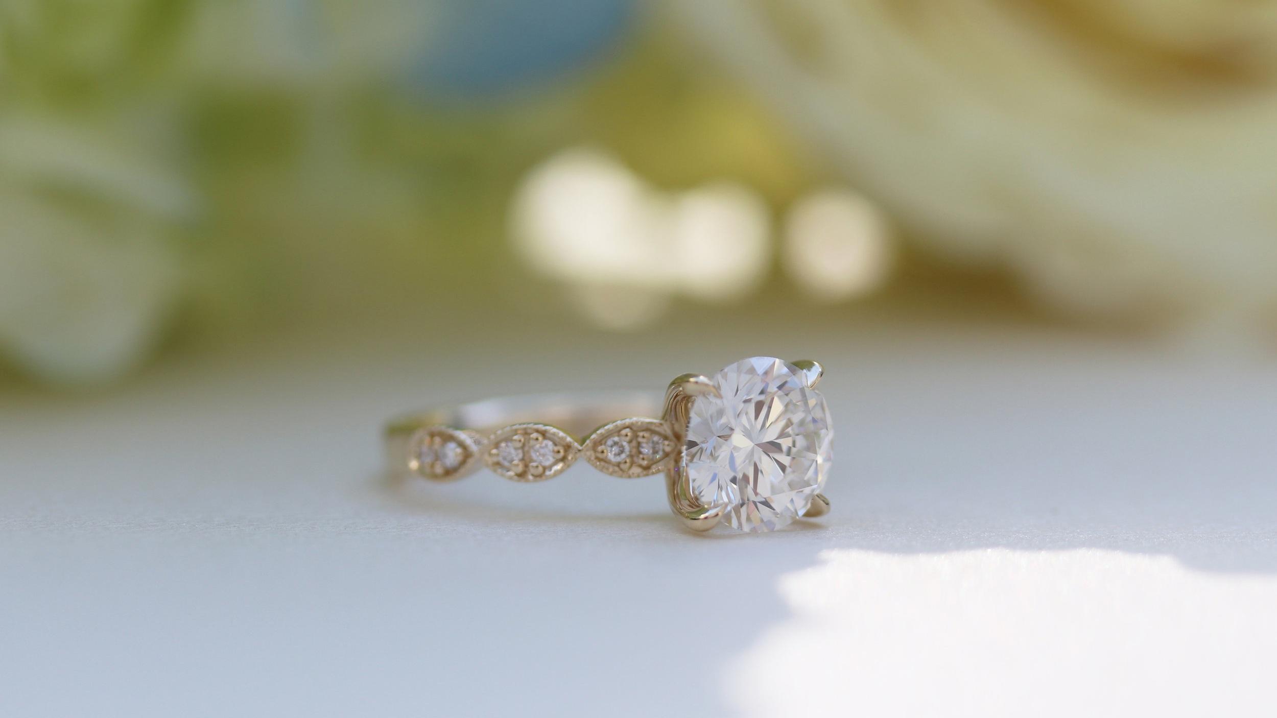 custom miligrain antique inspired lab diamond engagement ring