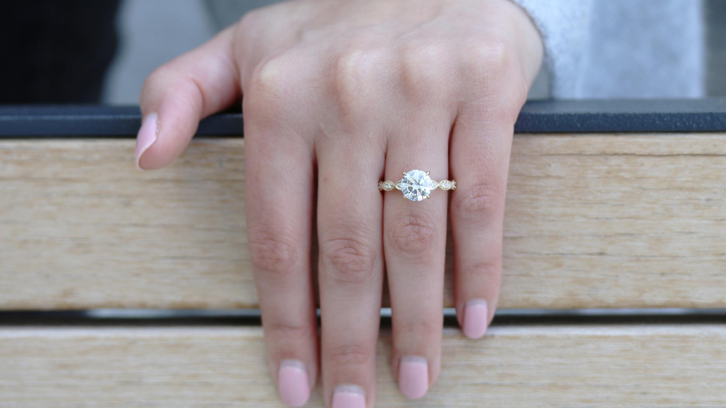 miligrain antique style custom lab diamond engagement ring ada diamonds