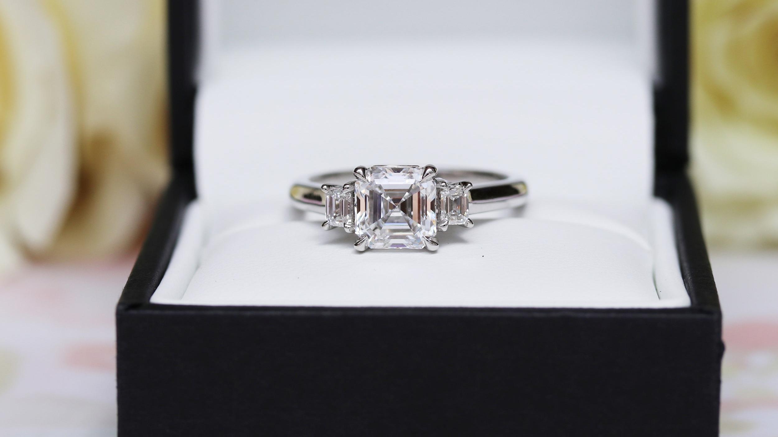 three stone emerald and asscher cut lab diamond engagement ring ada diamonds
