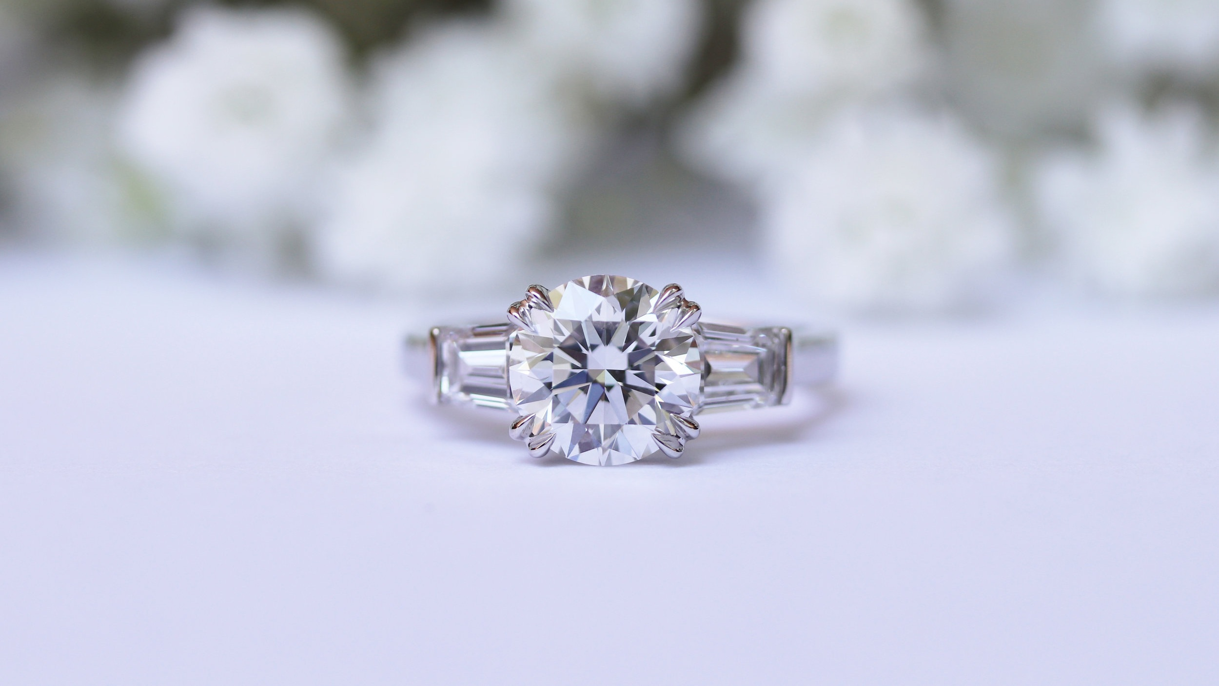 three stone round and baguette lab diamond engagement ring ad-071
