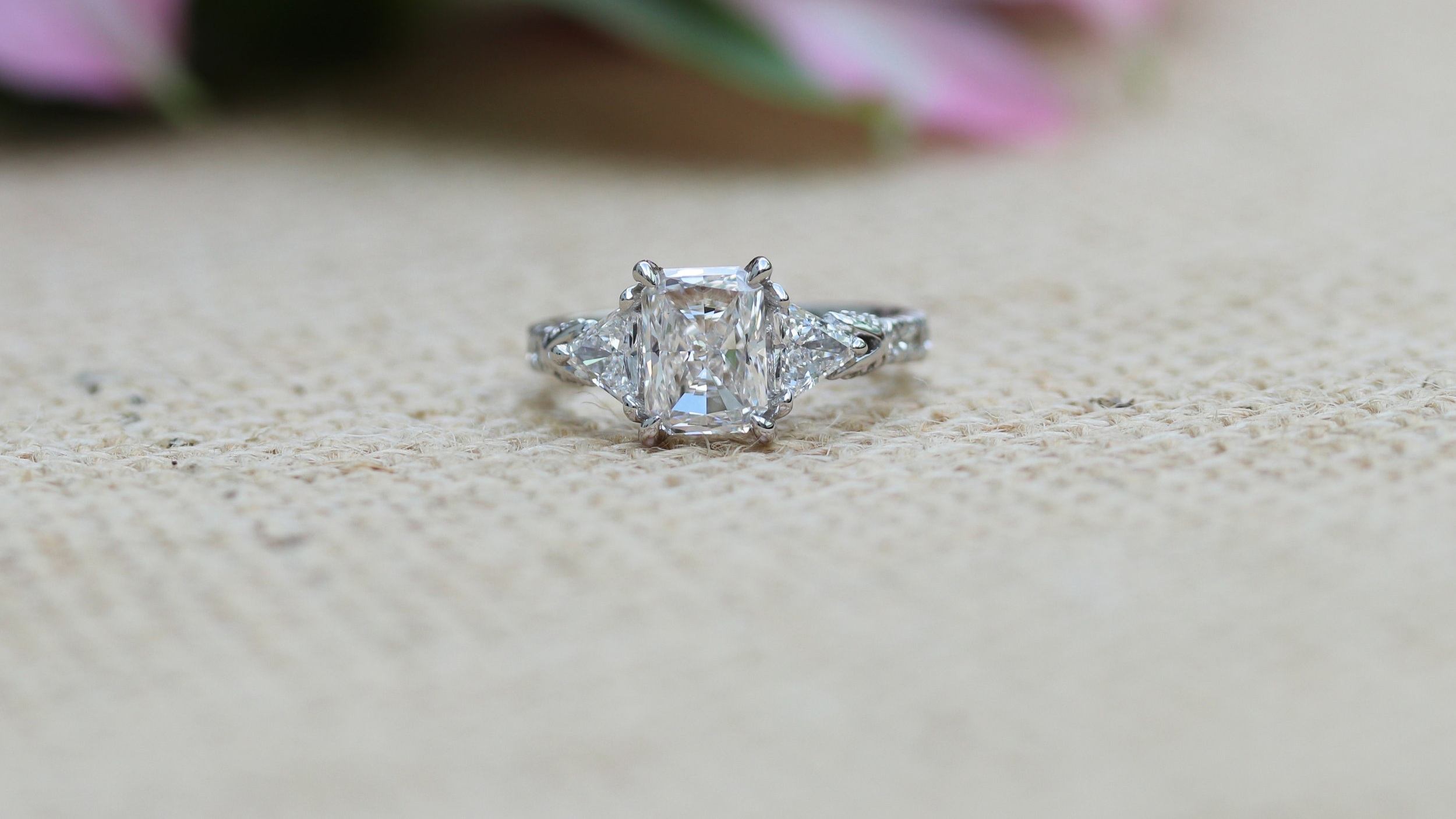 custom radiant and trillion three stone lab created diamond engagement ring