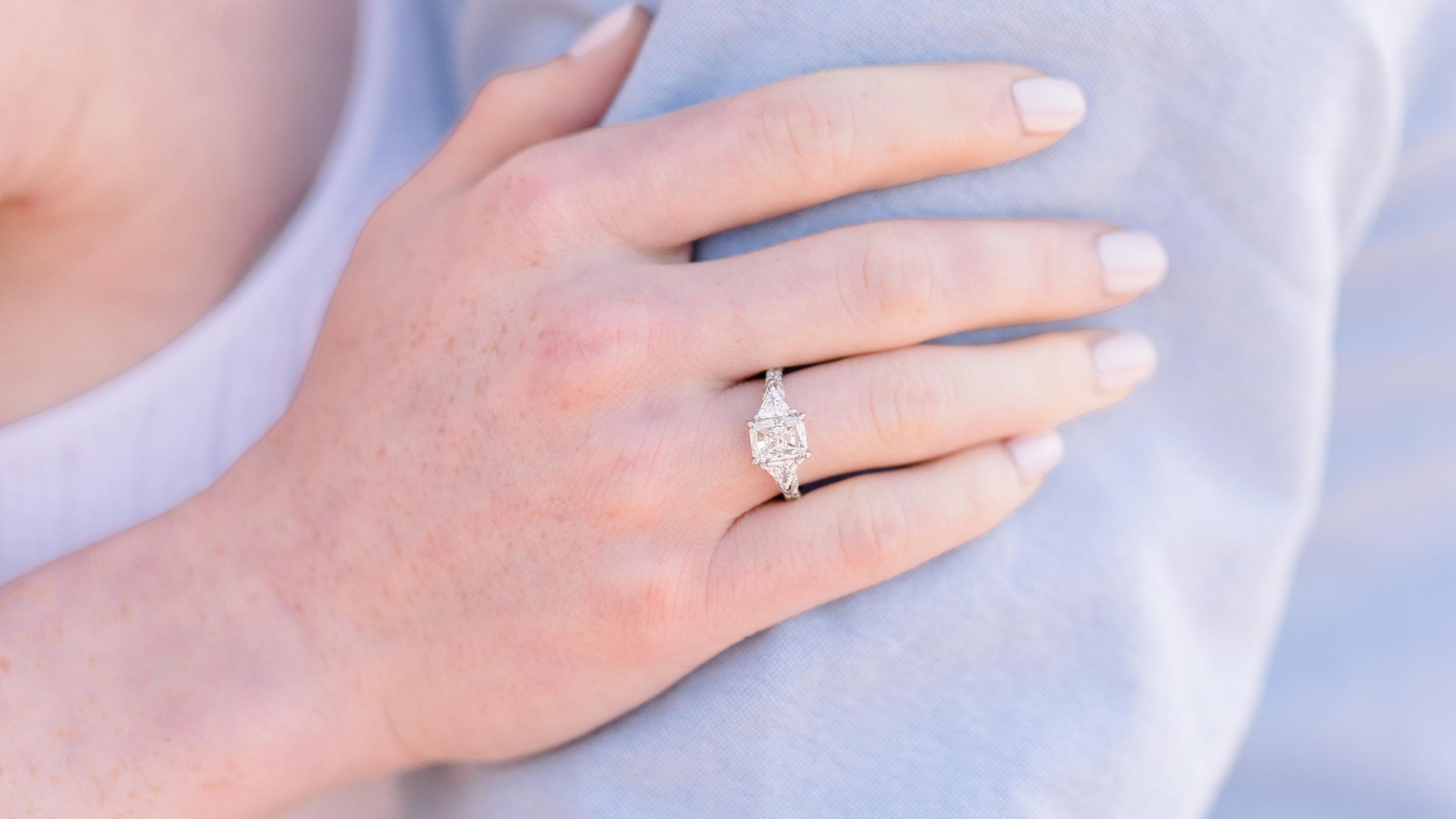 three stone radiant and trillion lab grown diamond engagement ring