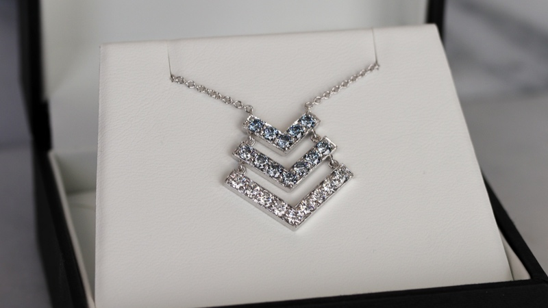 custom lab diamond necklace featuring fancy blue lab grown diamonds