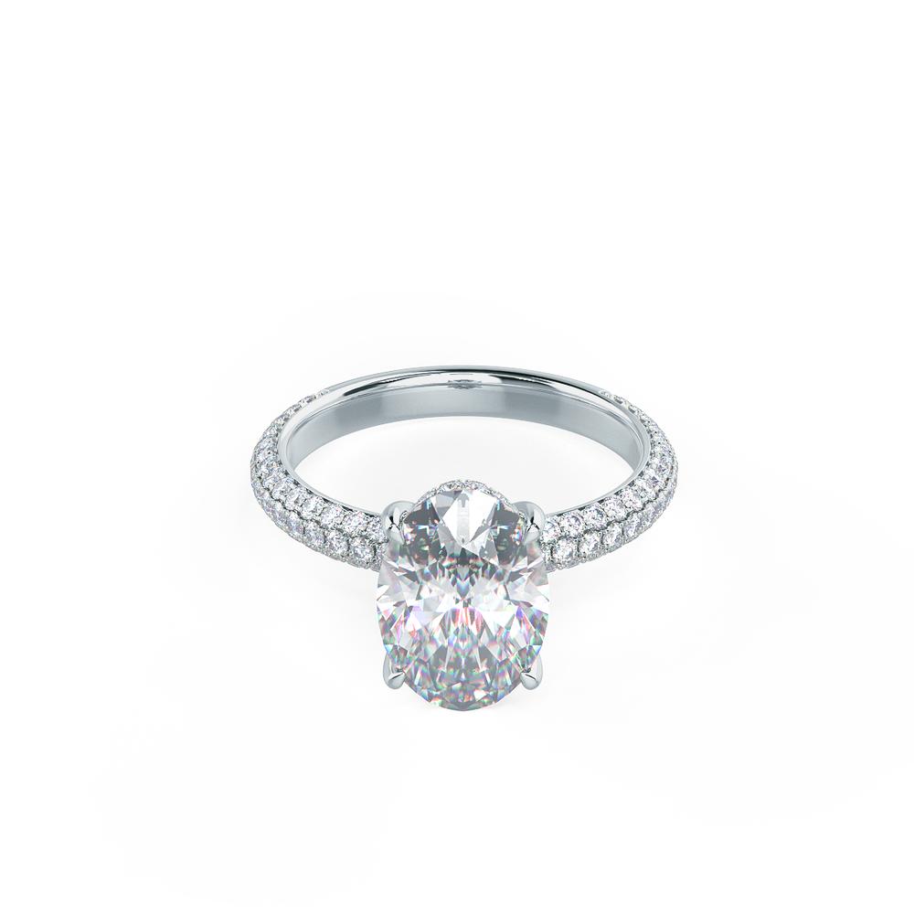 Three Sided Pave Setting Custom Lab Diamond Engagement Ring