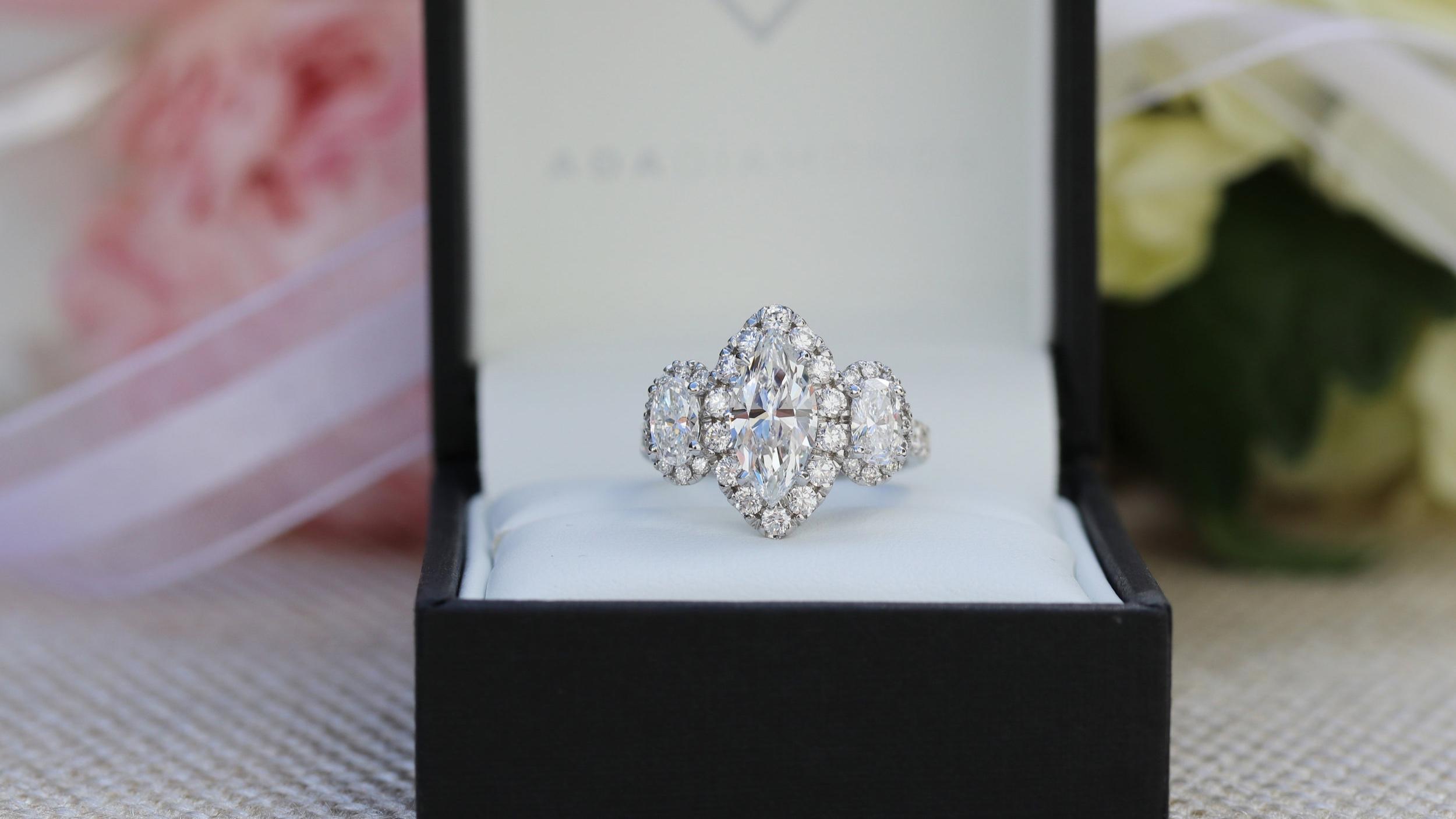 cushion cut lab diamond halo engagement ring and custom lab diamond eternity band
