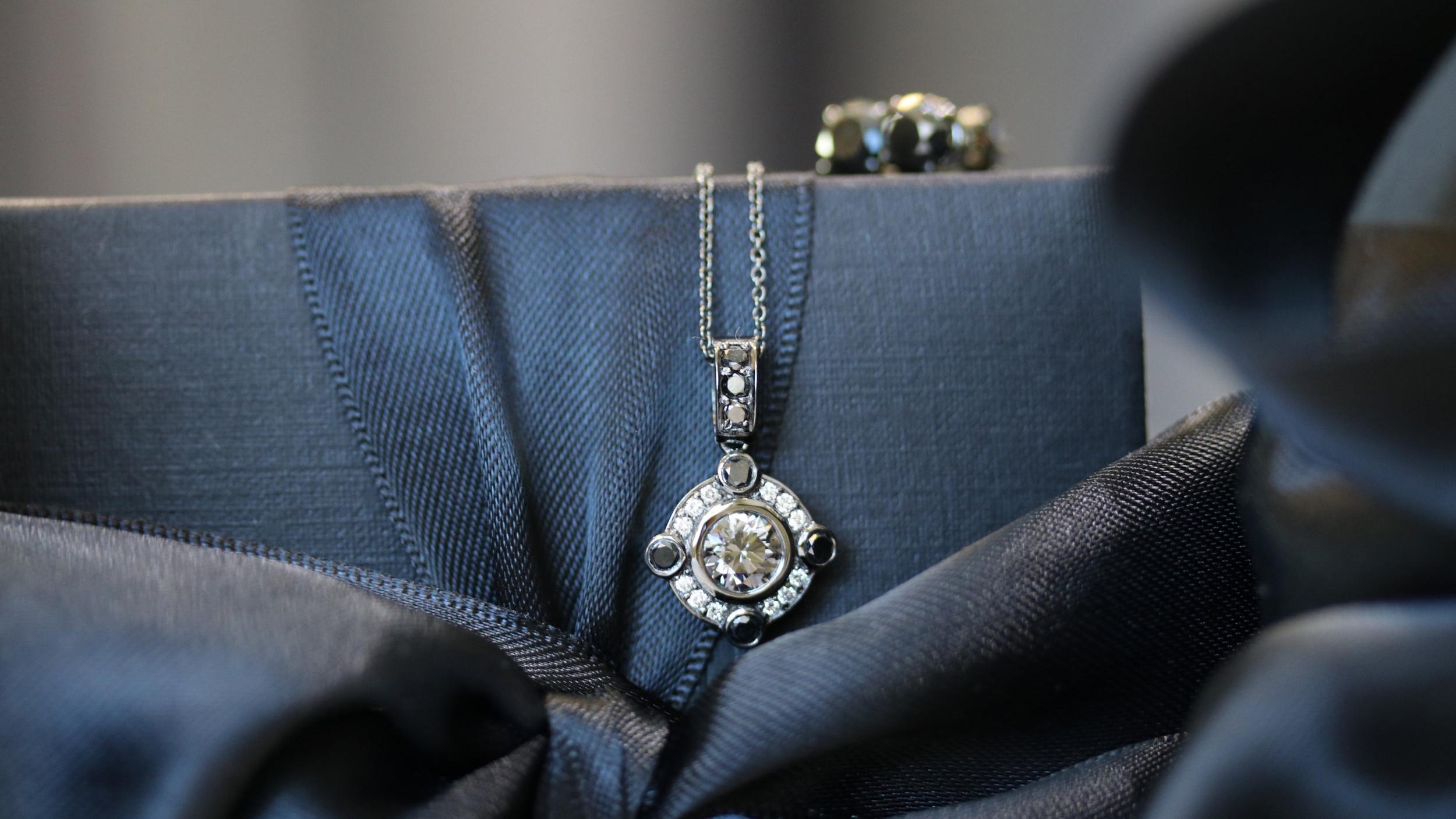 gray lab grown diamond pendant necklace Ada Diamonds New York