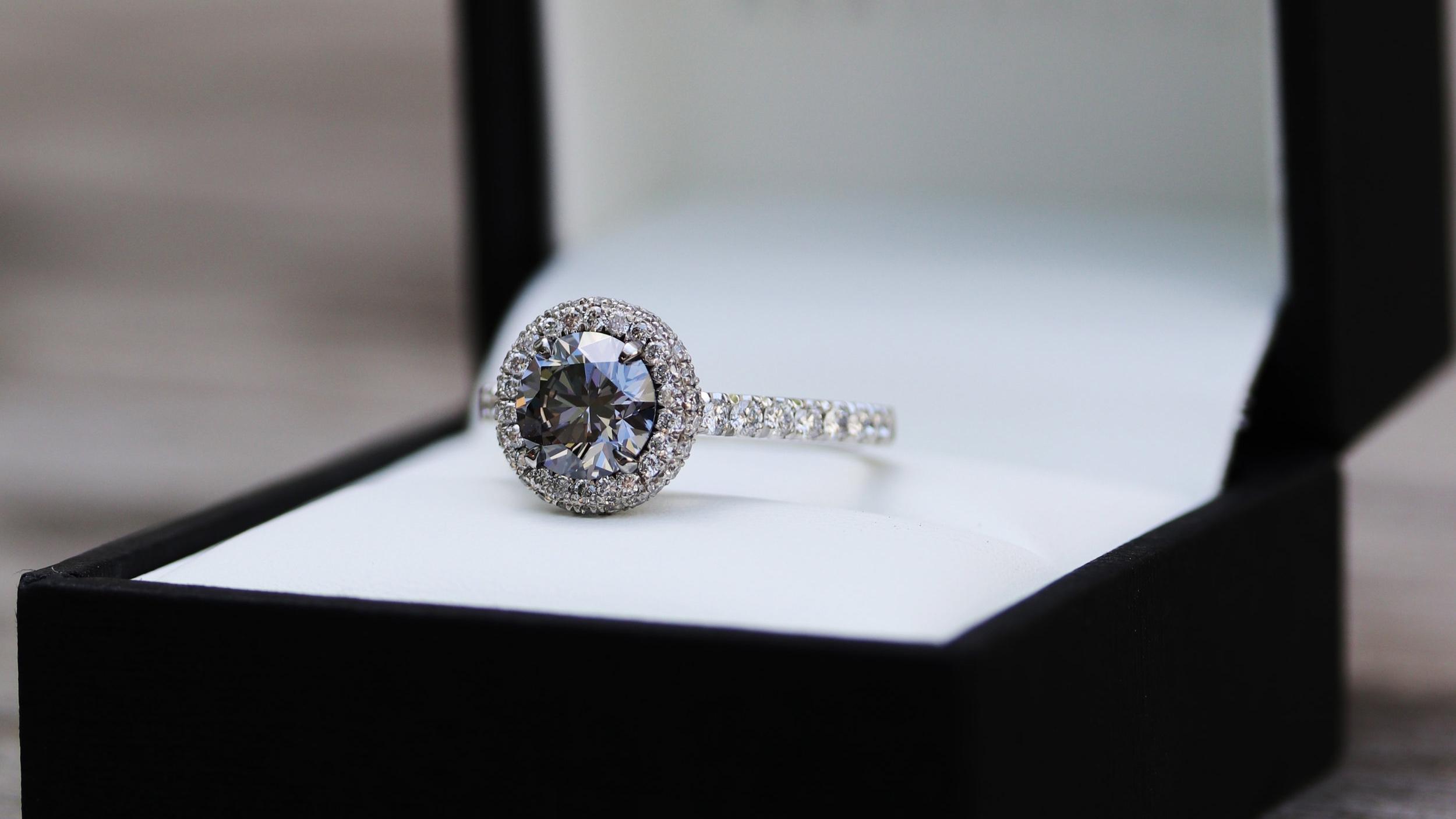 fancy yellow oval lab created diamond engagement ring with pave set diamond band Ada Diamonds