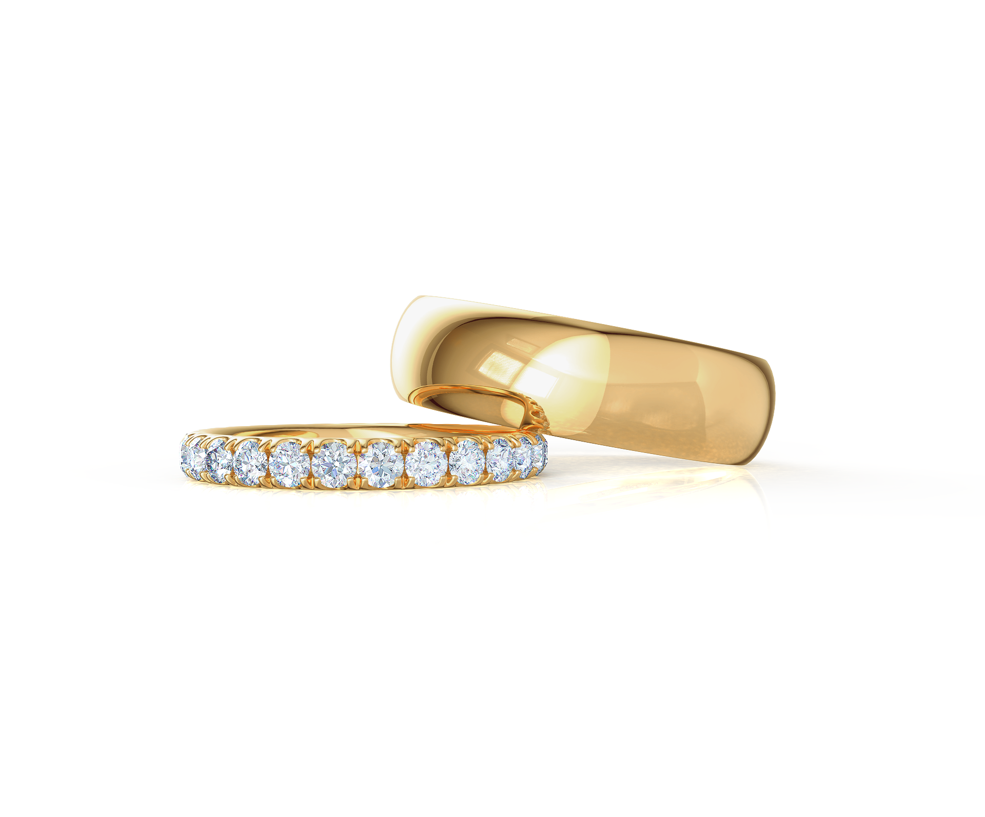 Pair your Classic Rounded Ring with a U Pave Eternity Band    Shop Now