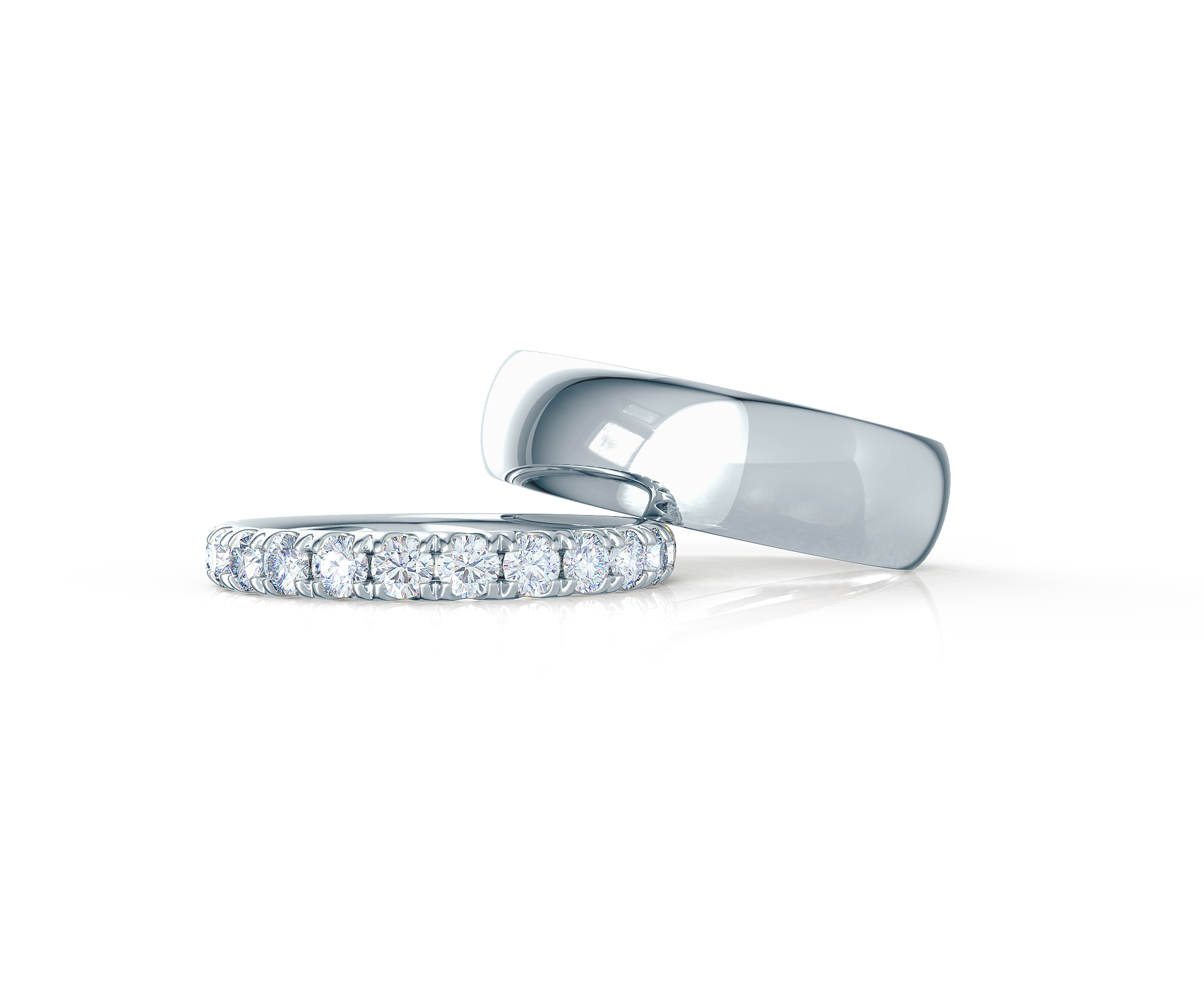 Pair your U Pavé Half Band with a Classic Rounded Ring    Shop Now