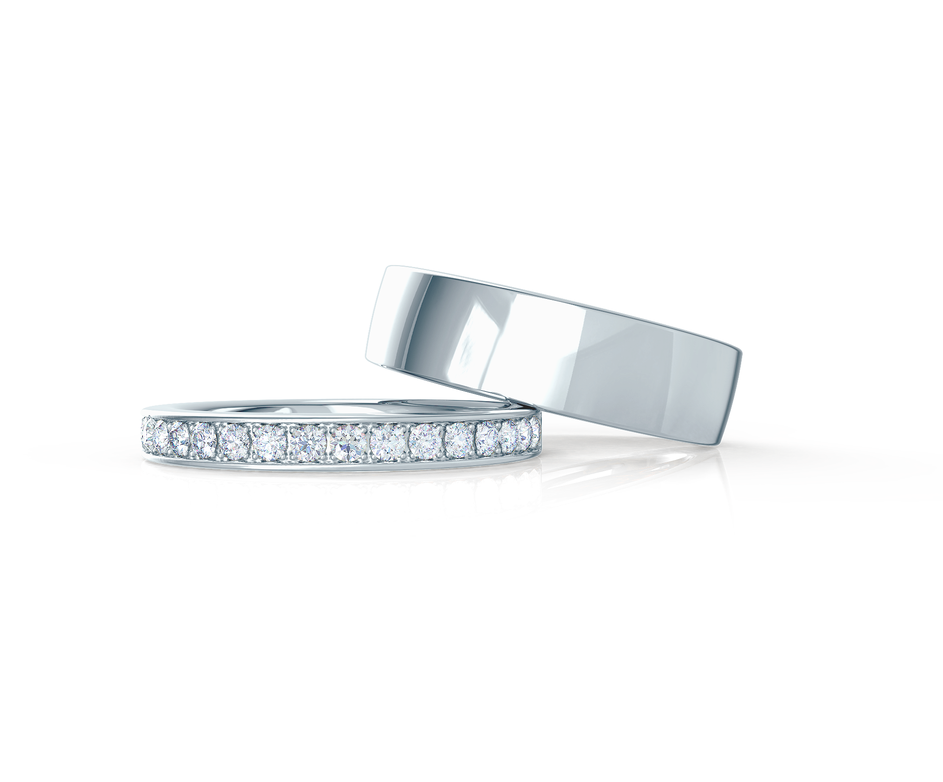 Pair your Classic Flat Ring with a Channel Set Half Band    Shop Now