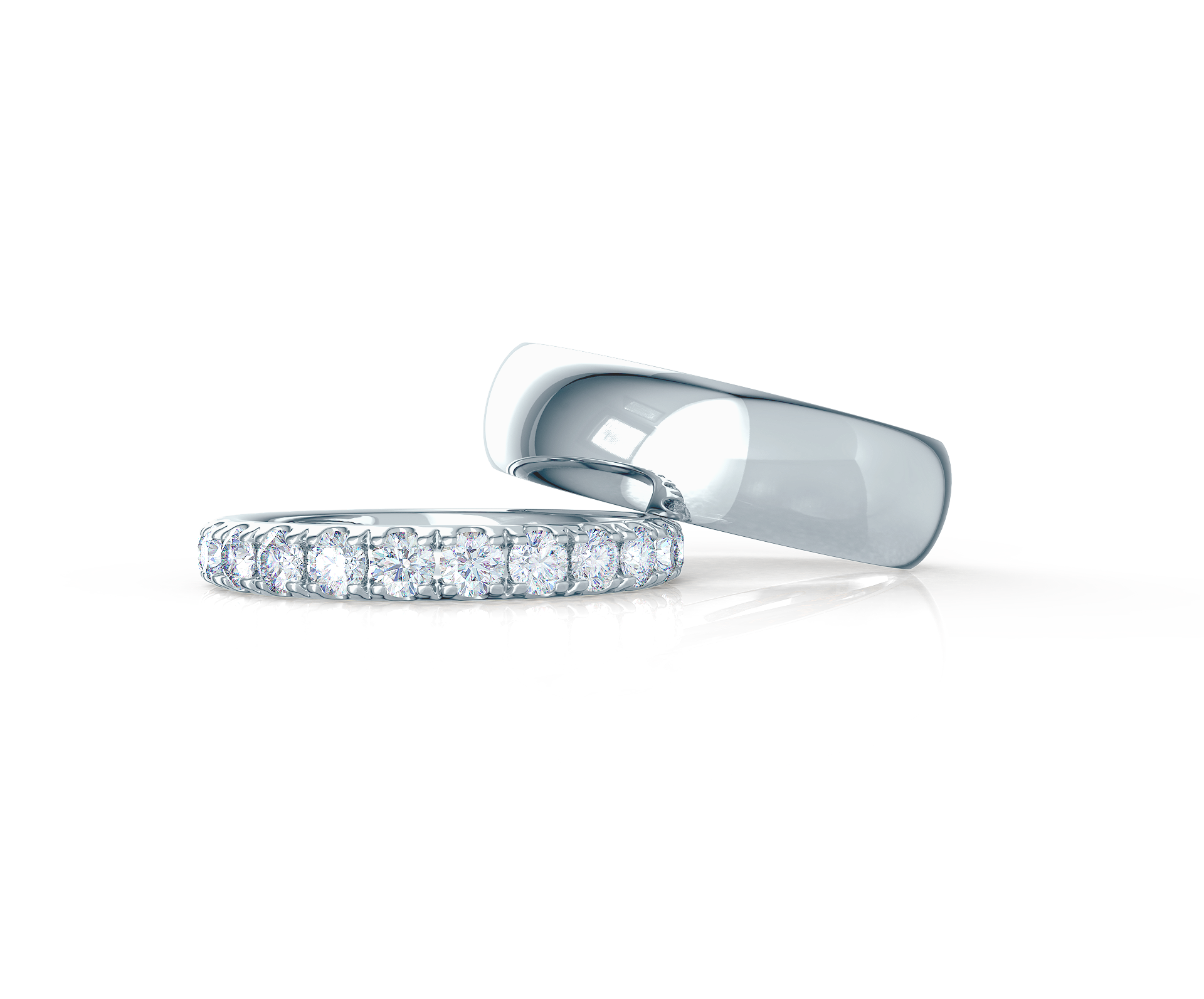 Pair your U Pavé Three Quarter Band with a Classic Rounded Ring    Shop Now