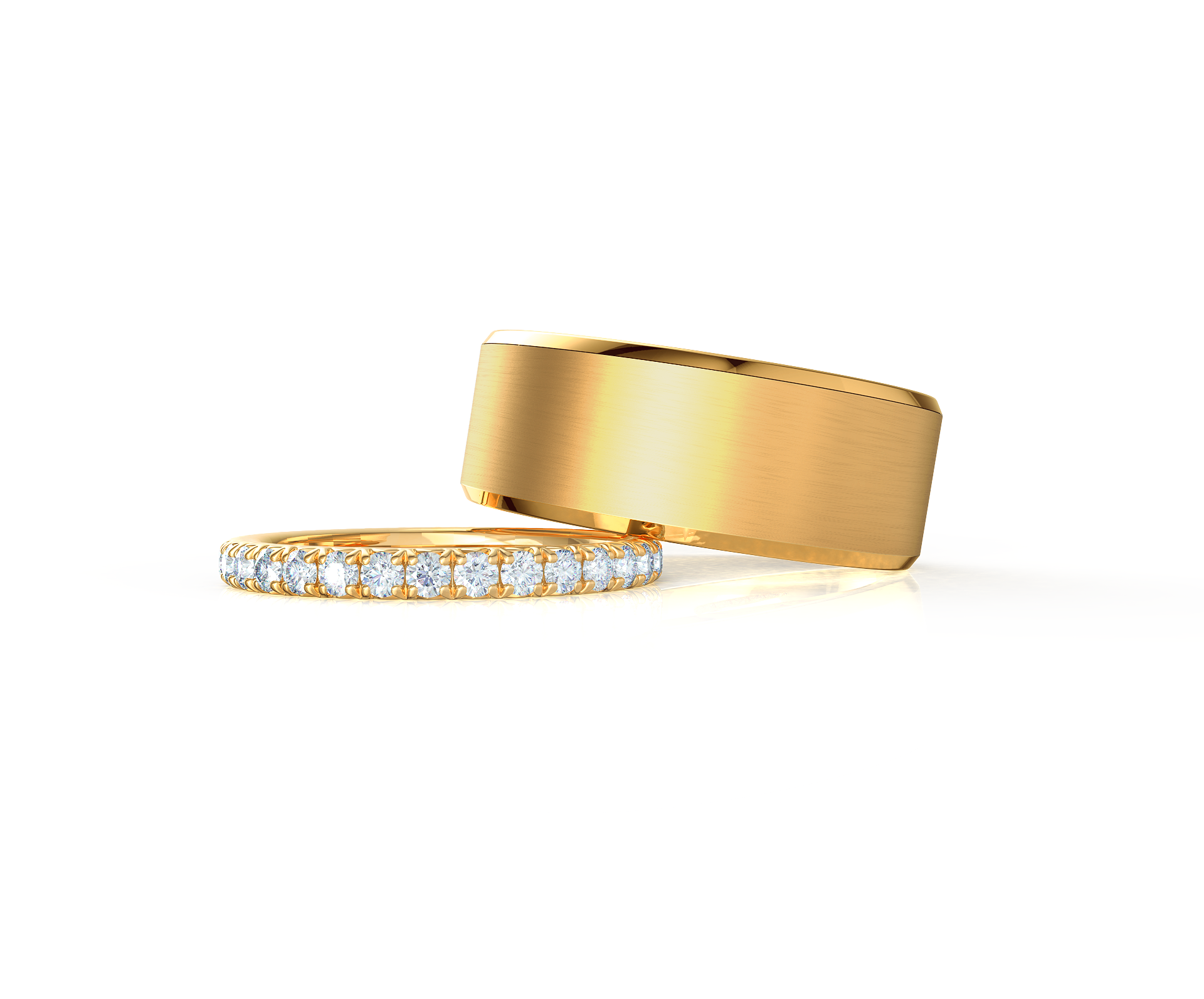 Pair your French Pavé Eternity Band with a Matte Beveled Ring    Shop Now