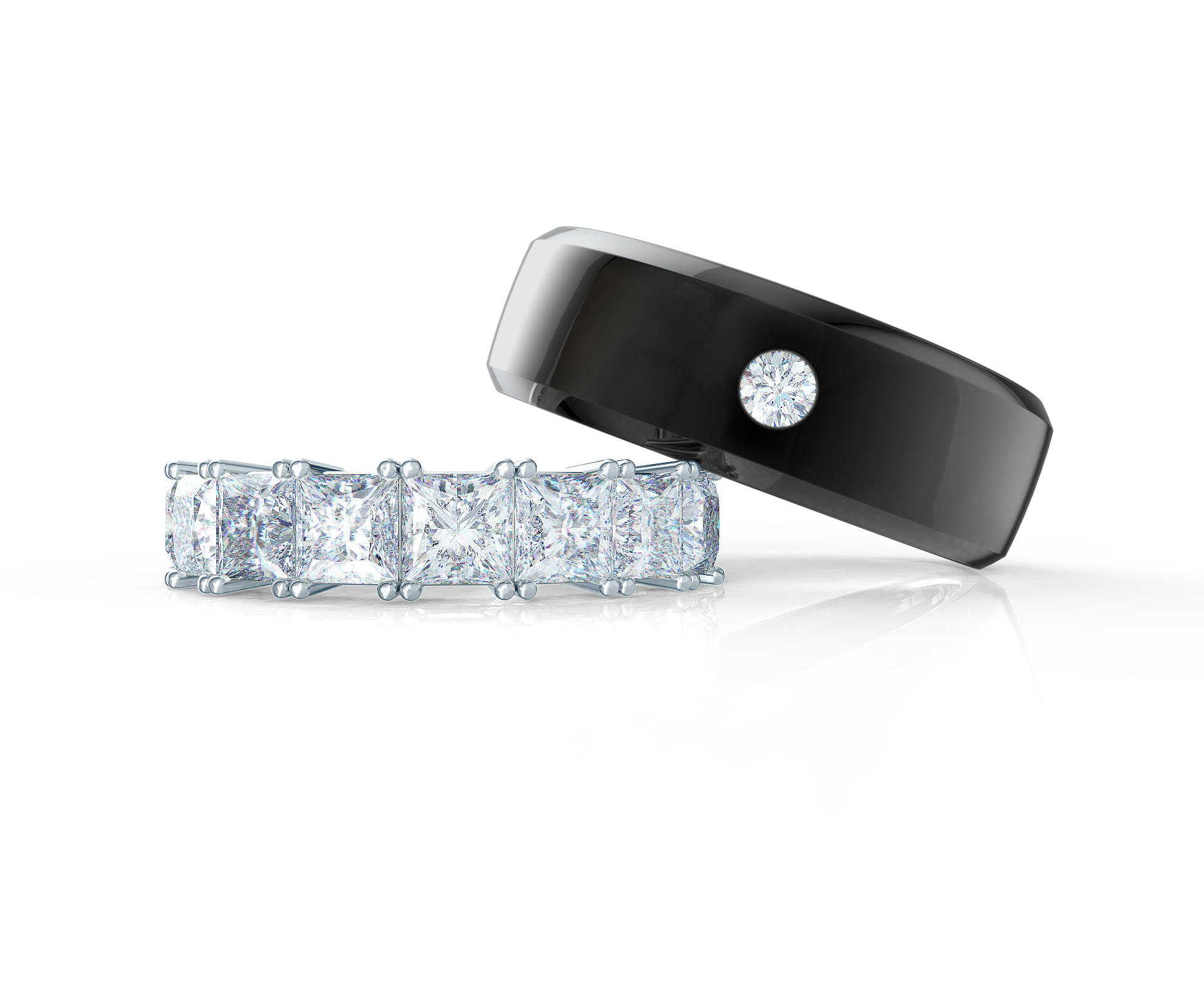 Pair your One in a Million Beveled Ring with a Basket Half Band    Shop Now